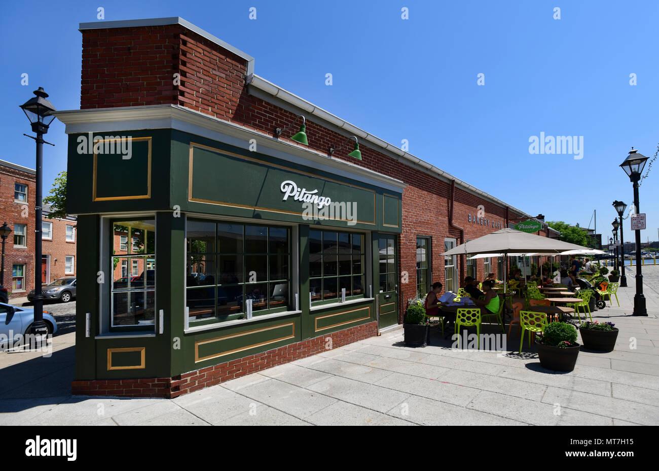 USA Maryland MD Baltimore Fells Point Pitango Bakery Cafe restaurant coffee shop - Stock Image