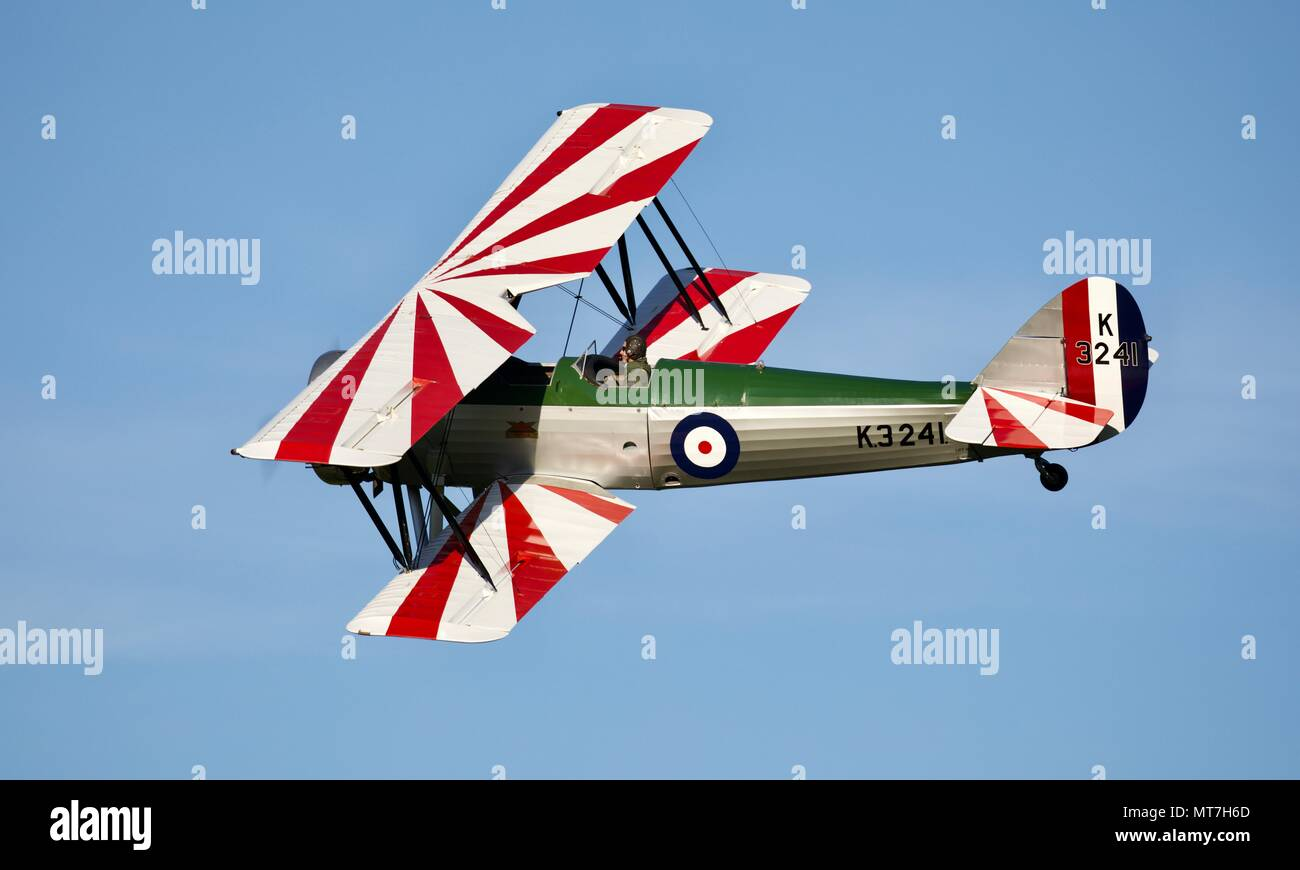 1931 Avro 621 Tutor flying at Shuttleworth evening airshow on the 19 May 2018 - Stock Image