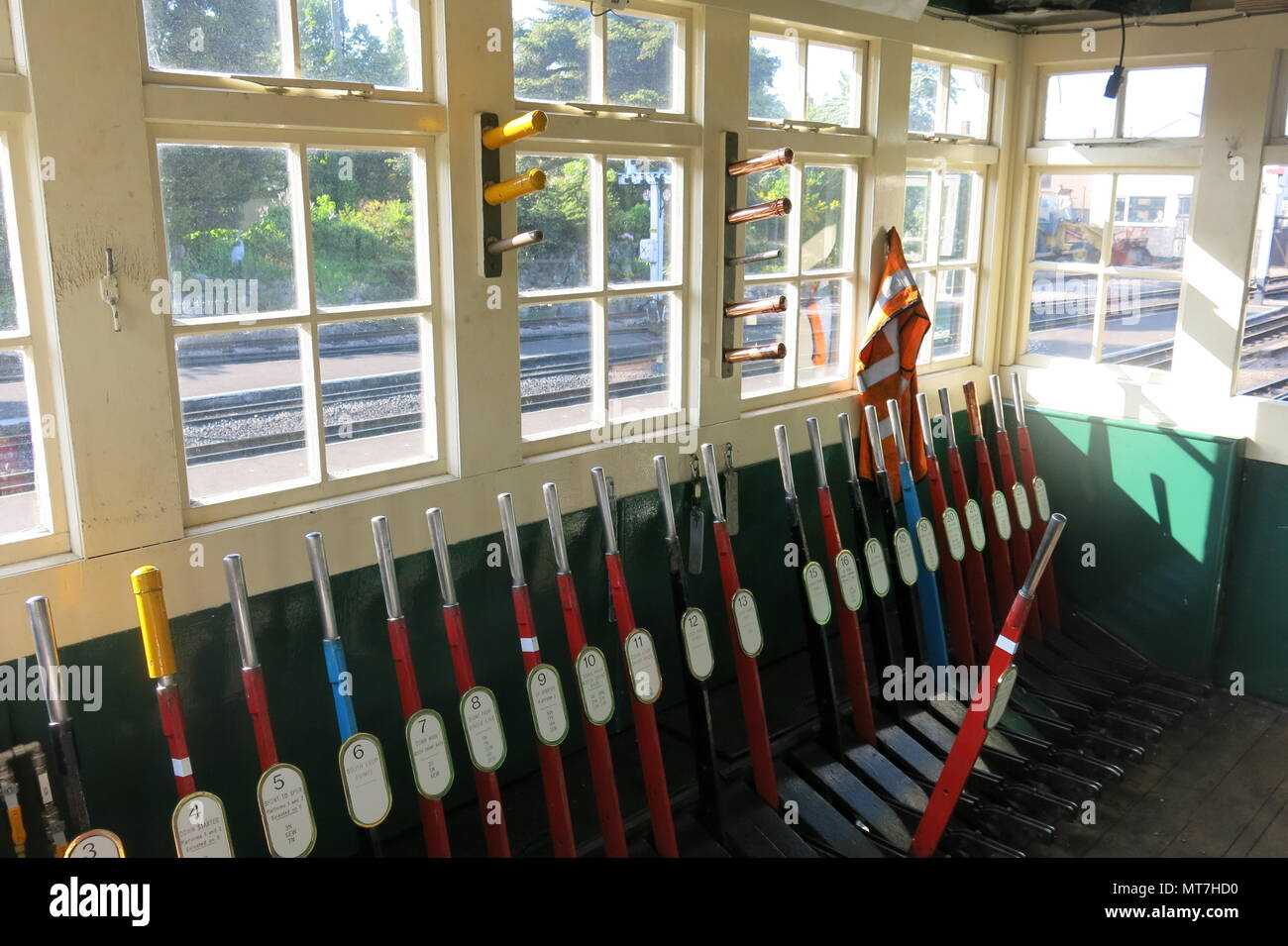 Lots of levers inside the signal box at New Romney station on the Romney, Hythe & Dymchurch steam railway, Kent - Stock Image
