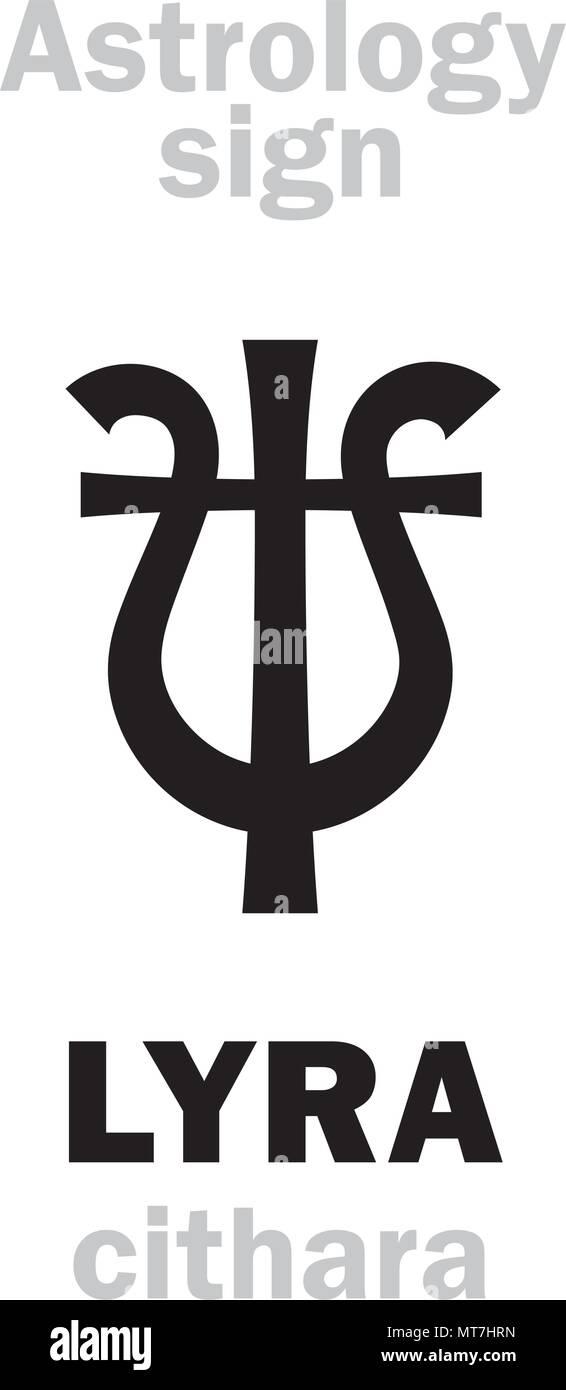 Astrology Alphabet: LYRA (cithara/guitare), celestial constellation. Hieroglyphics character sign (single symbol). - Stock Vector