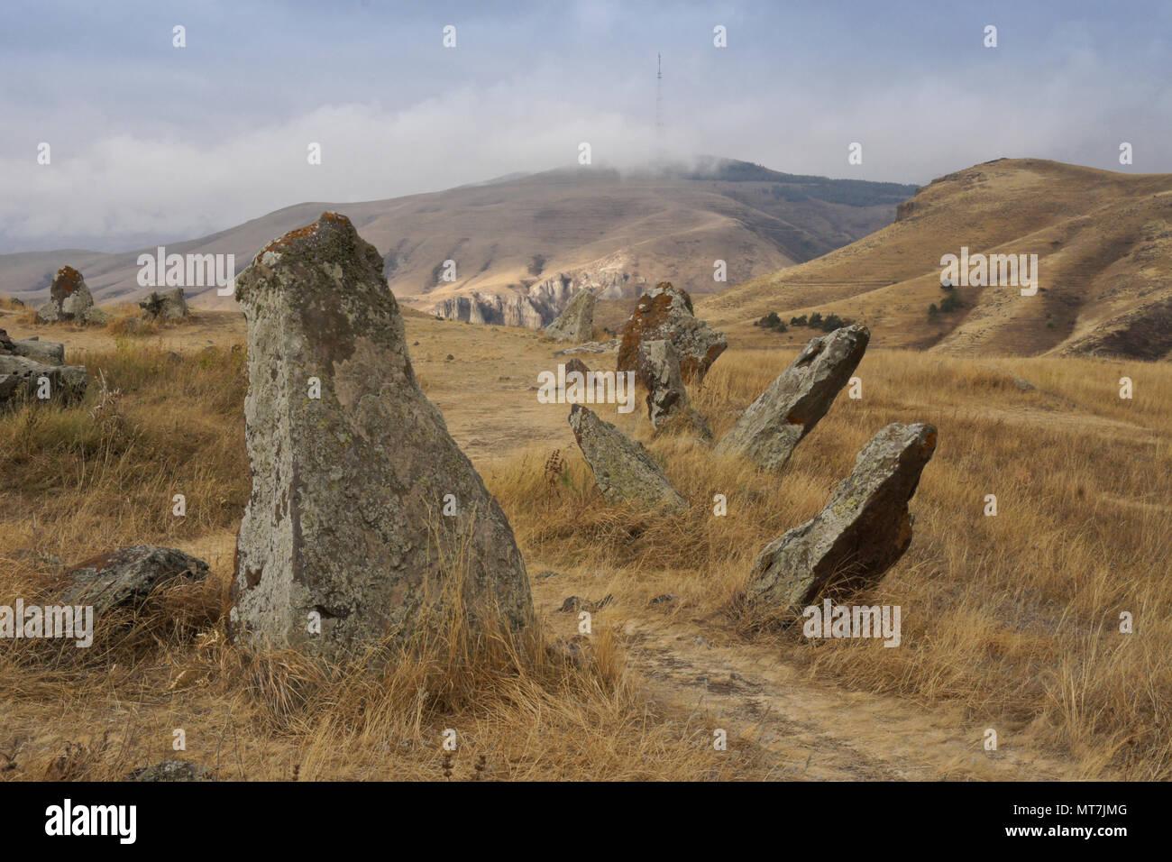 Karahunj (Carahunge) Observatory near the town of Sisian, Armenia - Stock Image