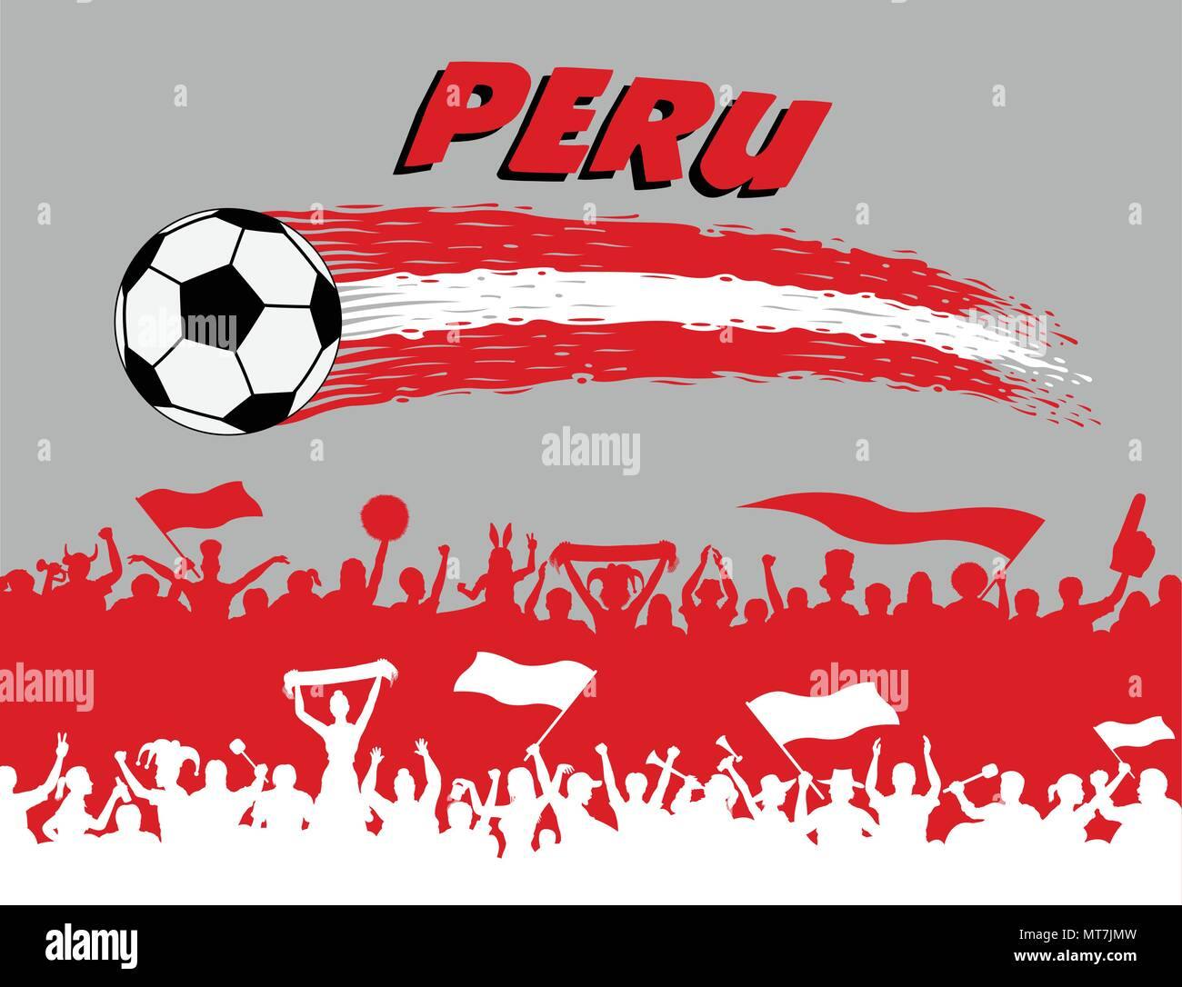 5ec6b961003 Peru flag colors with soccer ball and Peruvian supporters silhouettes. All  the objects