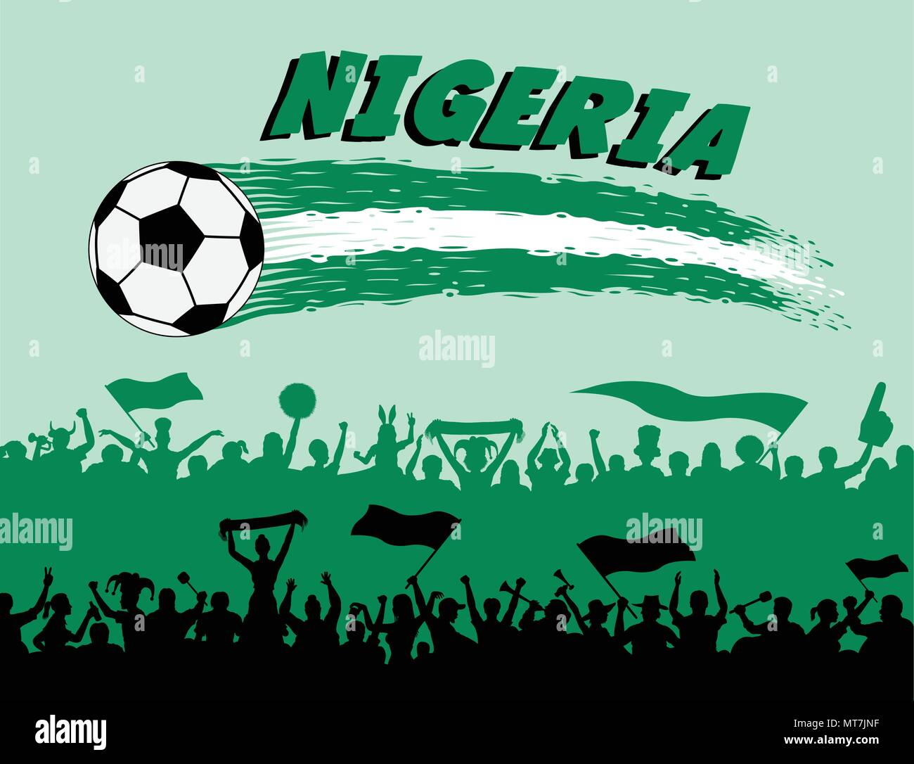 Nigeria flag colors with soccer ball and Nigerian supporters silhouettes. All the objects, brush strokes and silhouettes are in different layers and t - Stock Vector