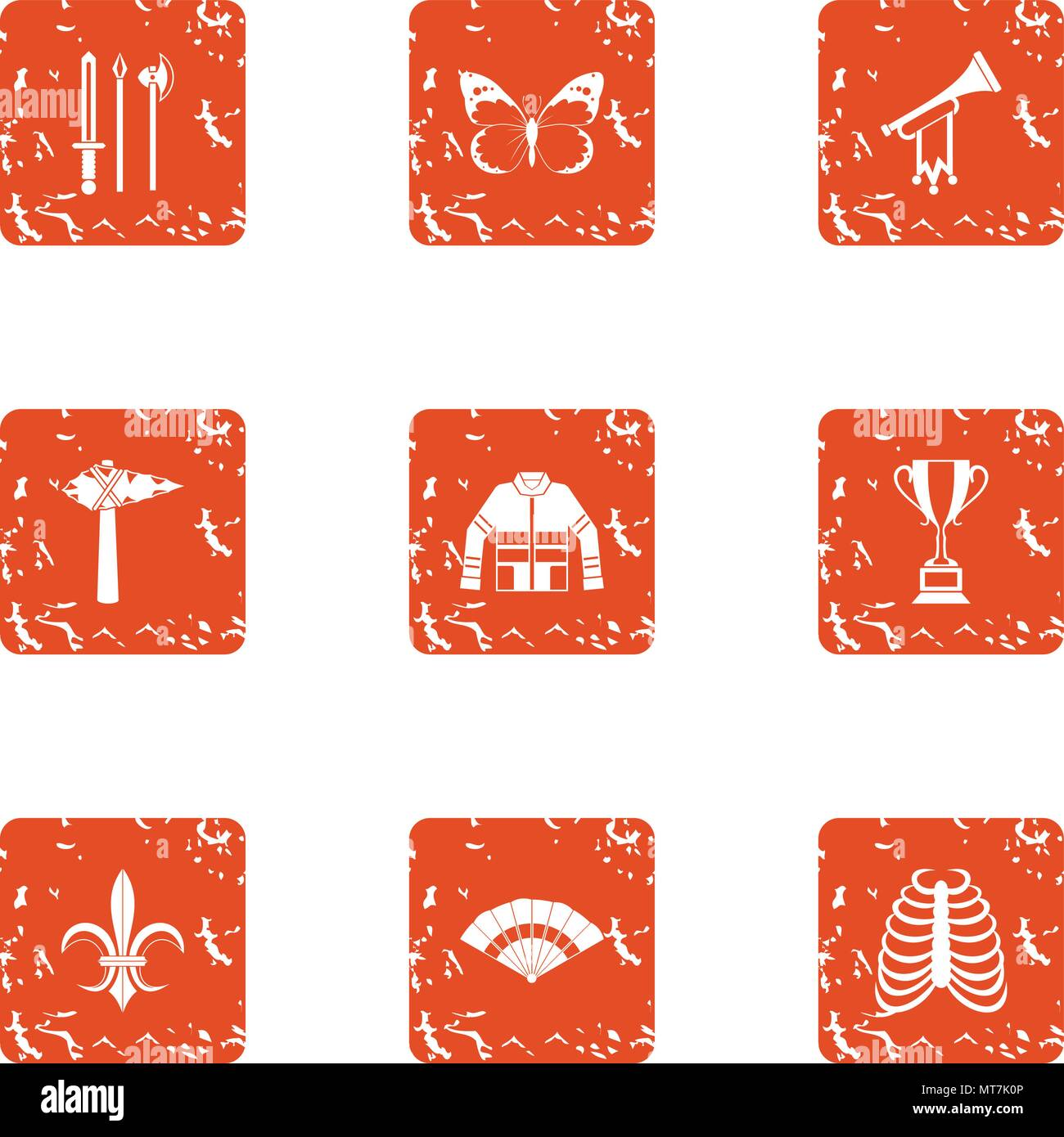 Medieval romanticism icons set, grunge style Stock Vector