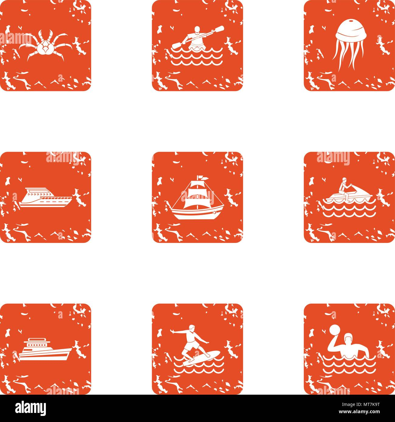 Water voyage icons set, grunge style - Stock Vector