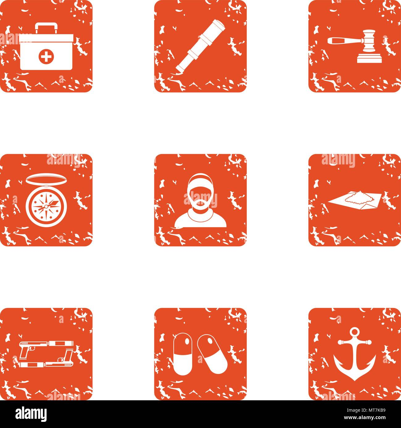 Doctor on ship icons set, grunge style - Stock Vector