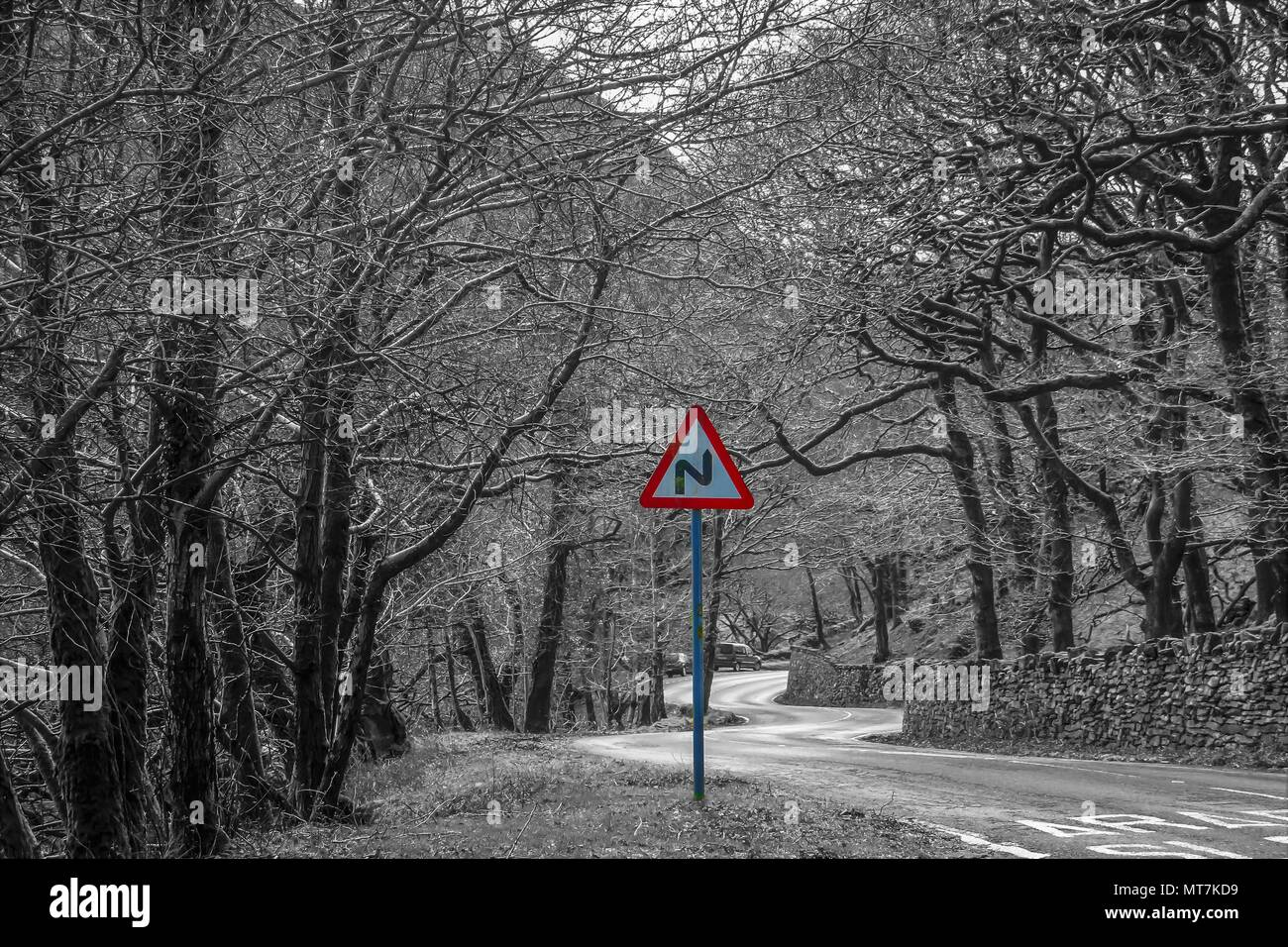 COLOUR SPLASHED SHARP BEND SIGN IN THE COUNTRYSIDE OF NORTH WALES - Stock Image