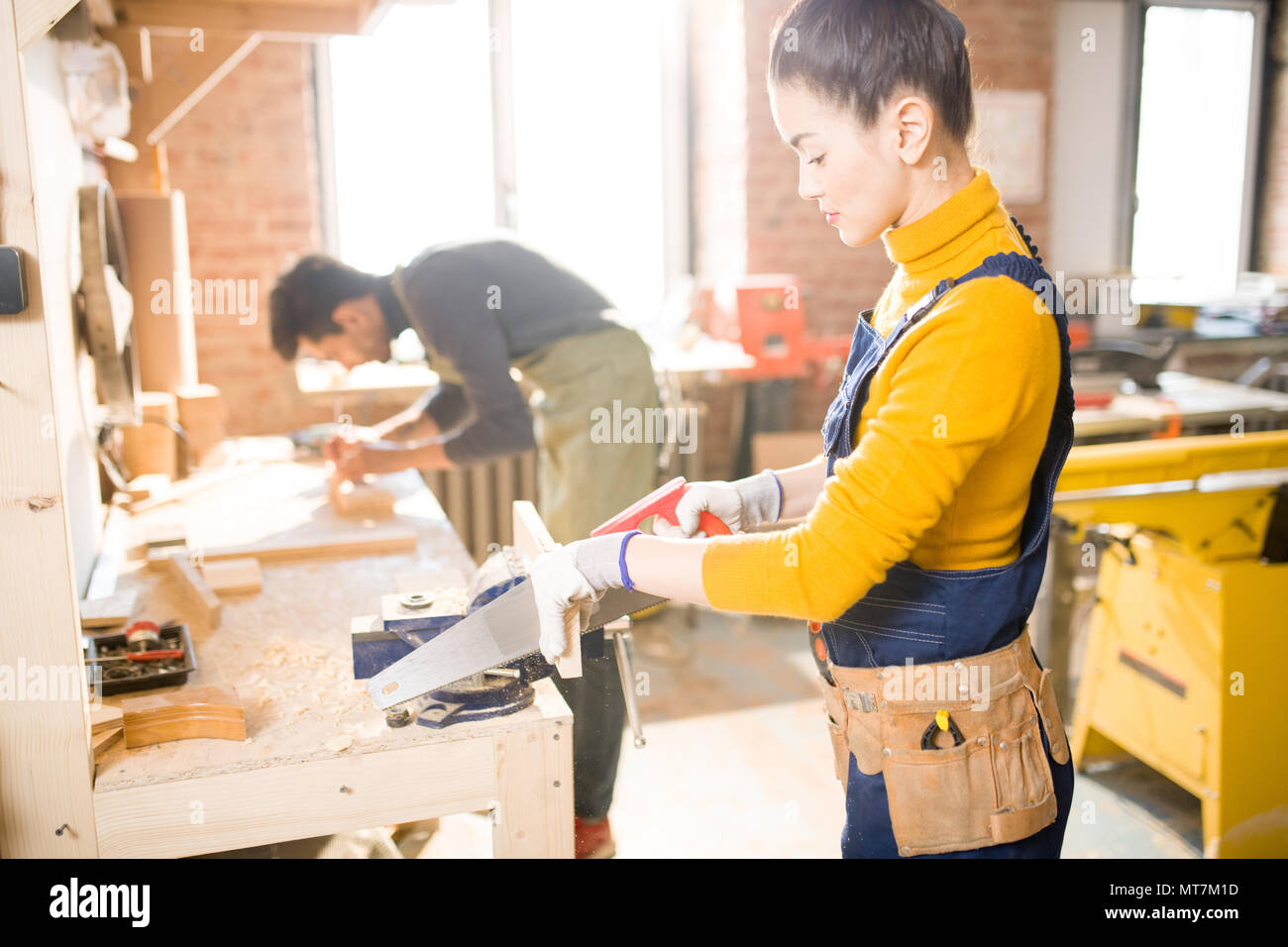 Carpenters Working in Joinery - Stock Image