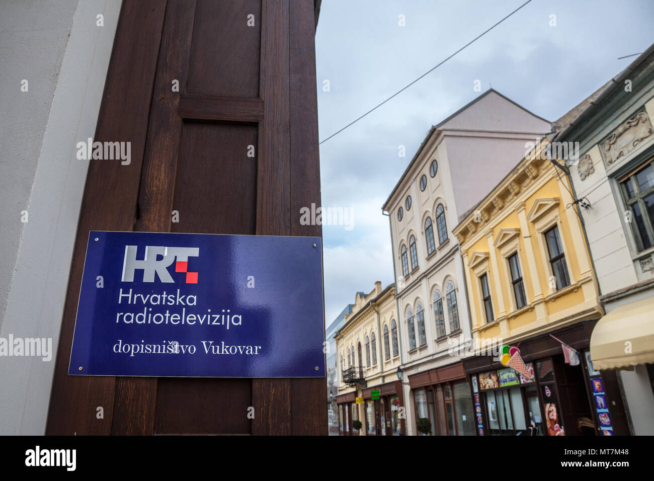 VUKOVAR, CROATIA - FEBRUARY 25, 2018: HRT logo on their office in Vukovar. HRT, or Hrvatska Radiotelevizija, or Croatian Radiotelevision, is the publi - Stock Image