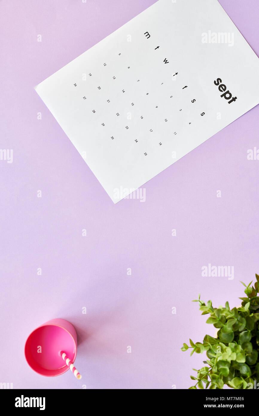 Girly September Flatlay - Stock Image