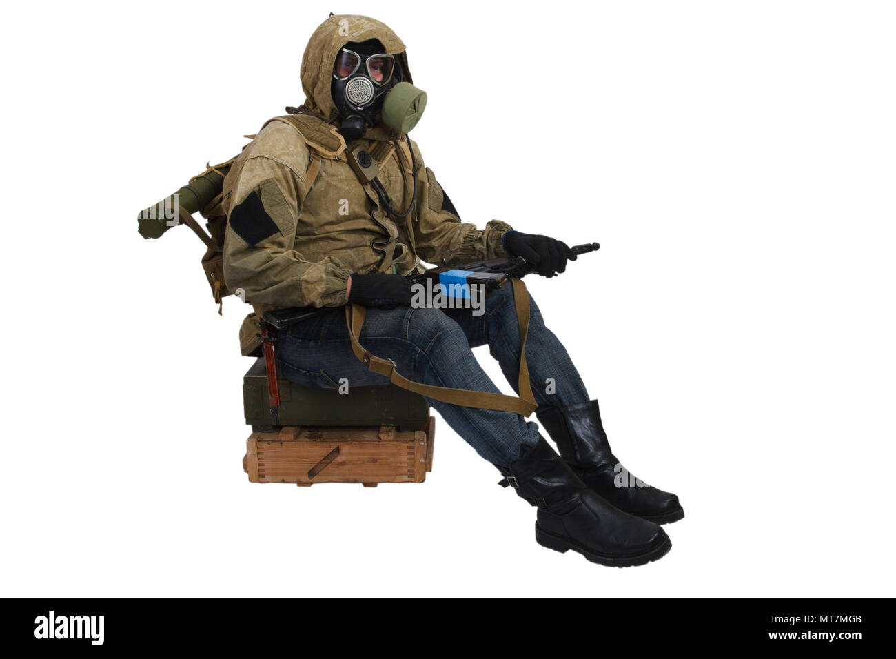 Stalker in gas mask with ak-47 gun isolated on white - Stock Image