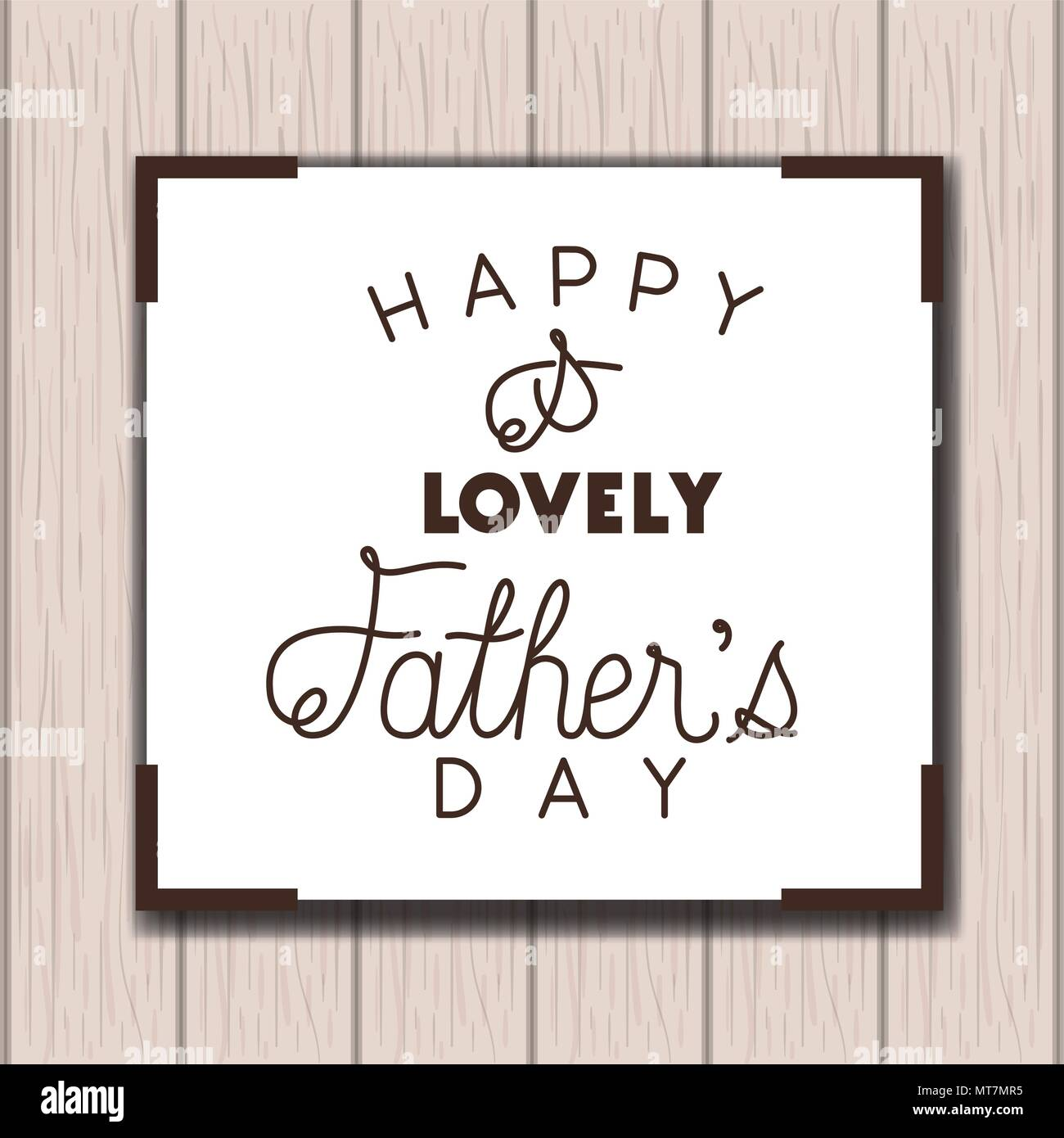 happy fathers day card with wooden background - Stock Image