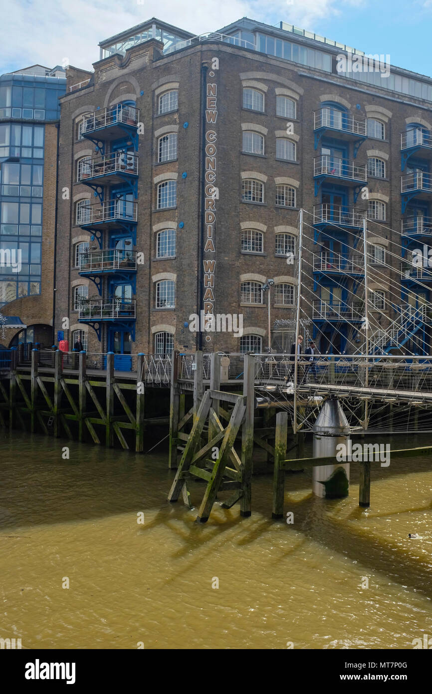 New Concordia Wharf - former warehouse now luxury residential properties, Shad Thames, London, UK. - Stock Image