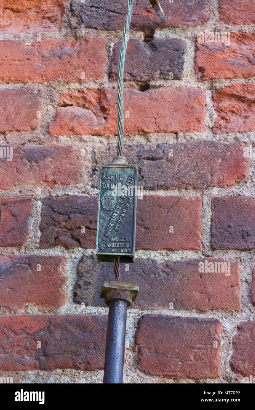 Patented Lightning Rod on Riddarholm Church in Riddarholmen, Stockholm, Sweden Stock Photo