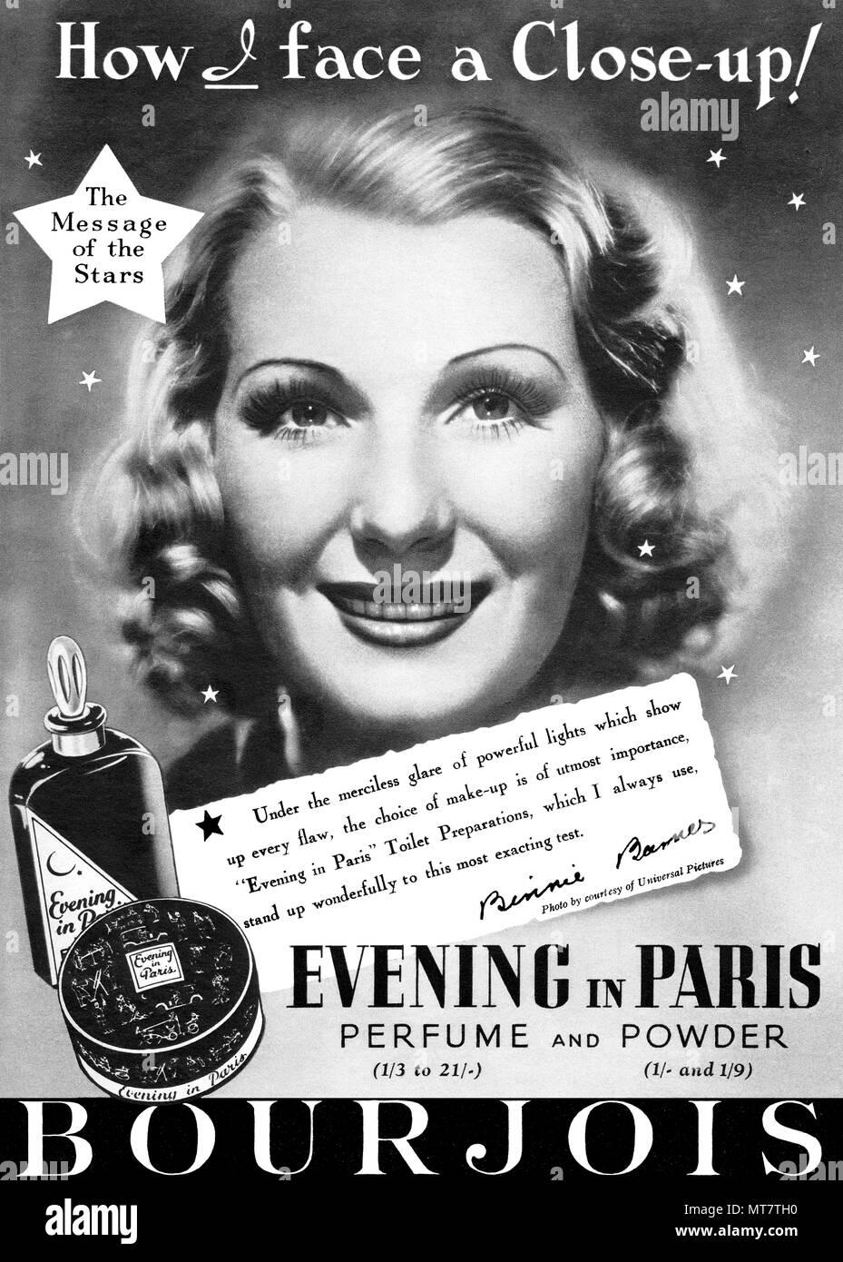 1939 British advertisement for Bourjois Evening In Paris perfume and powder, featuring actress Binnie Barnes. - Stock Image