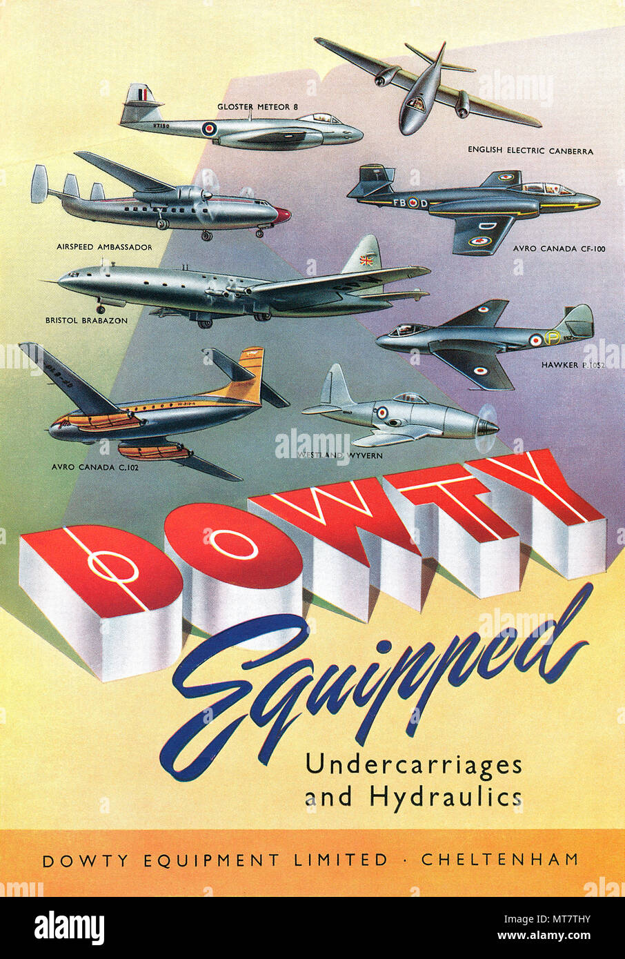 1950 British advertisement for Dowty Equipment Limited, manufacturers of undercarriages and hydraulics for the aviation industry. - Stock Image