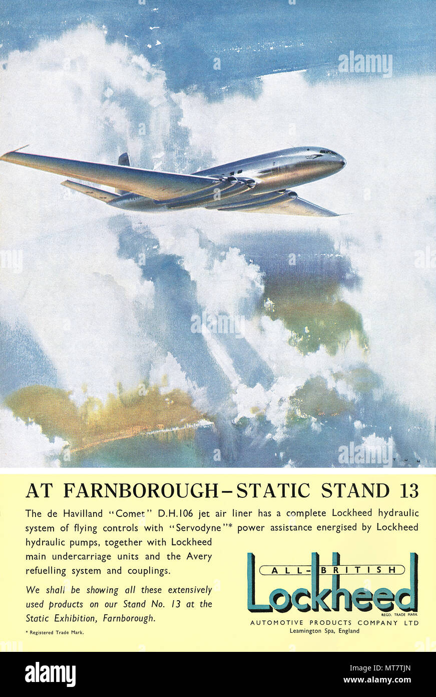 1950 British Advertisement For Lockheed Aviation Systems Featuring The De Havilland DH 106 Comet Jet Airliner