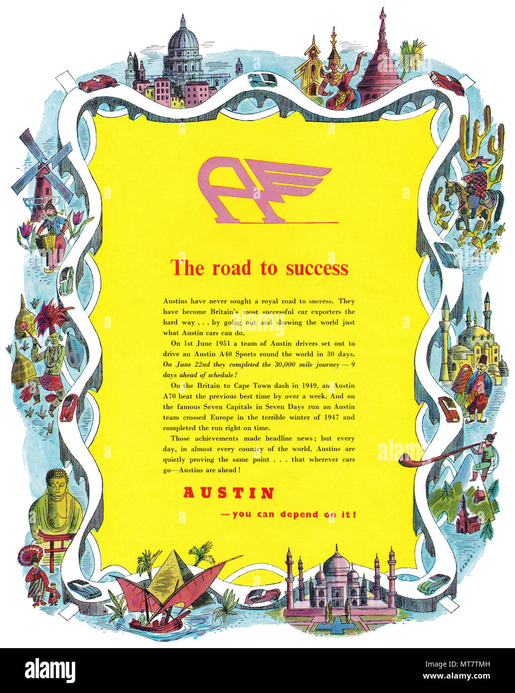 1951 British advertisement for Austin motor cars. - Stock Image
