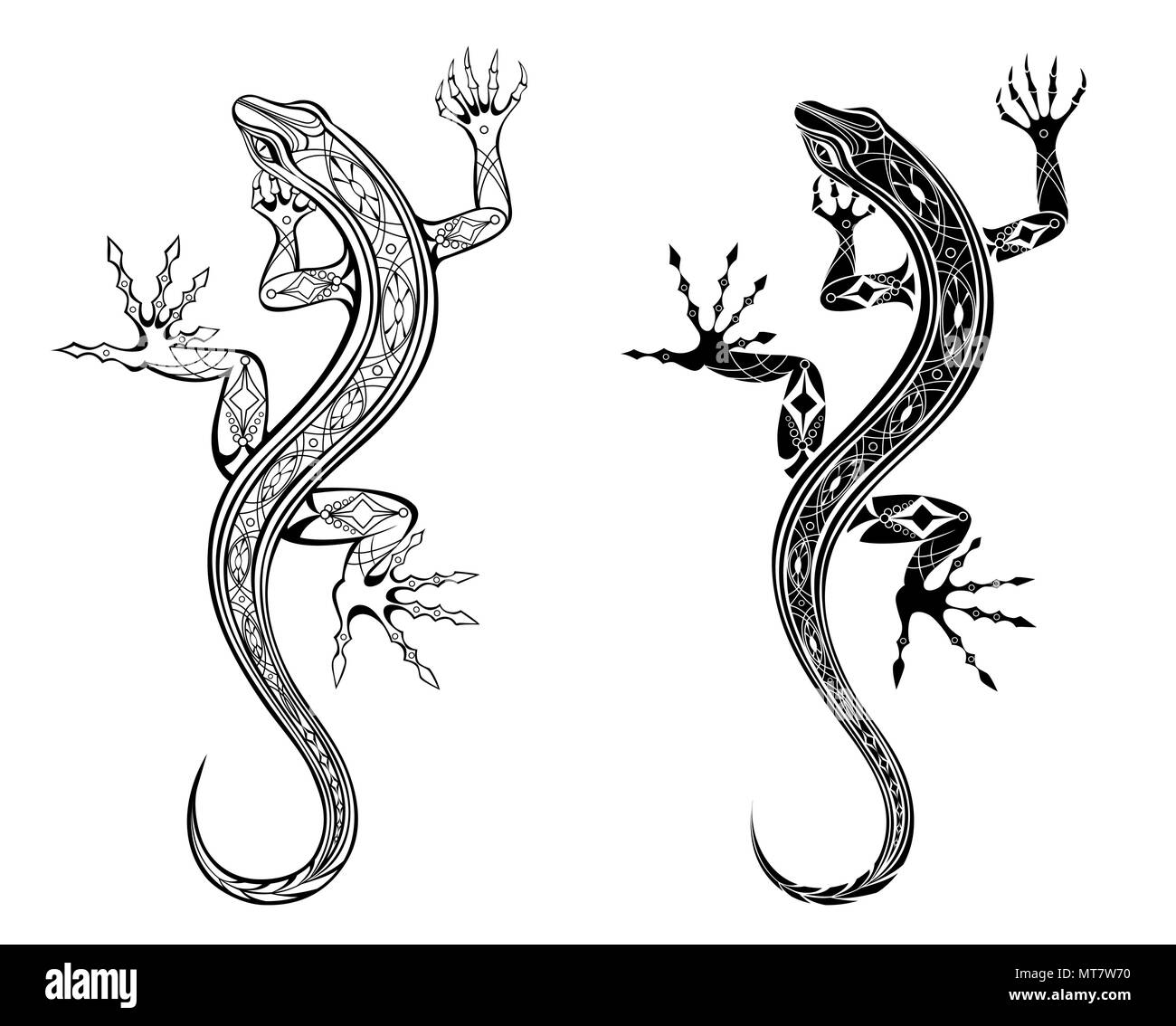 Two artistically drawn, contour, patterned lizards on white background. Tattoo style. - Stock Image