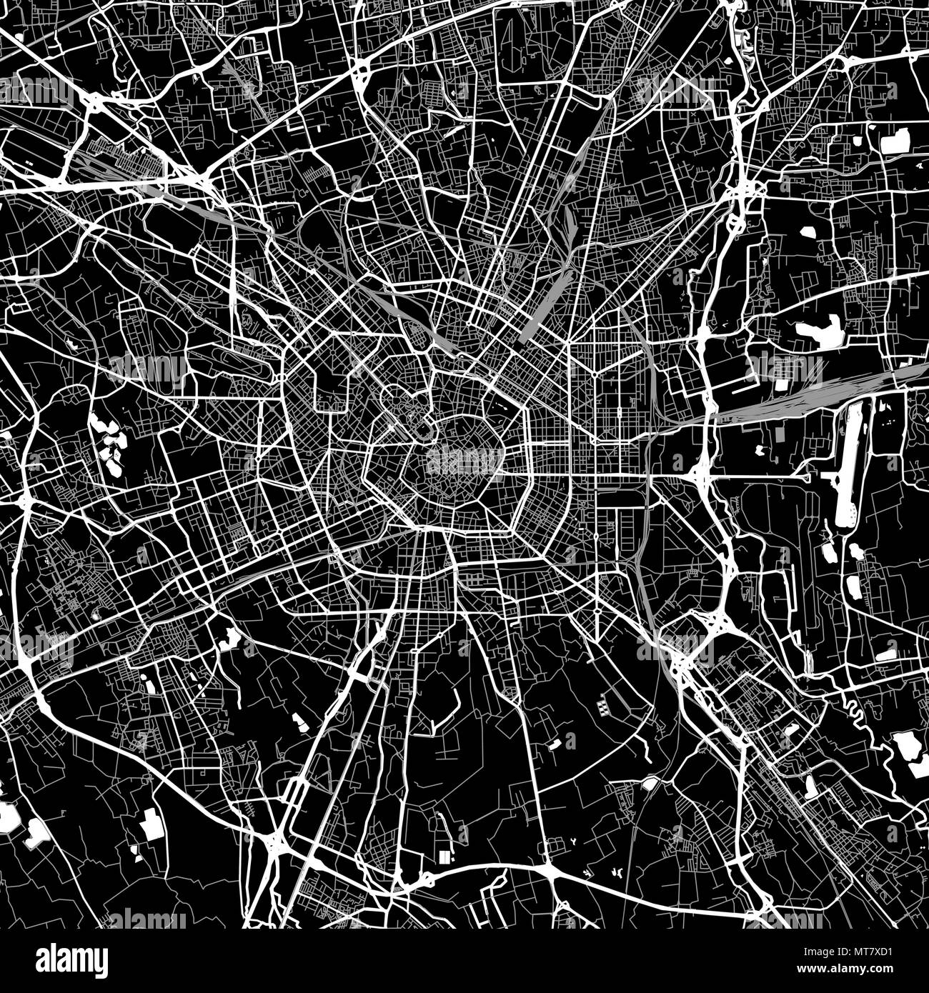 Area map of Milan, Italy. Dark background version for infographic and marketing projects. This map of Milan, Lombardy, contains typical landmarks with - Stock Vector
