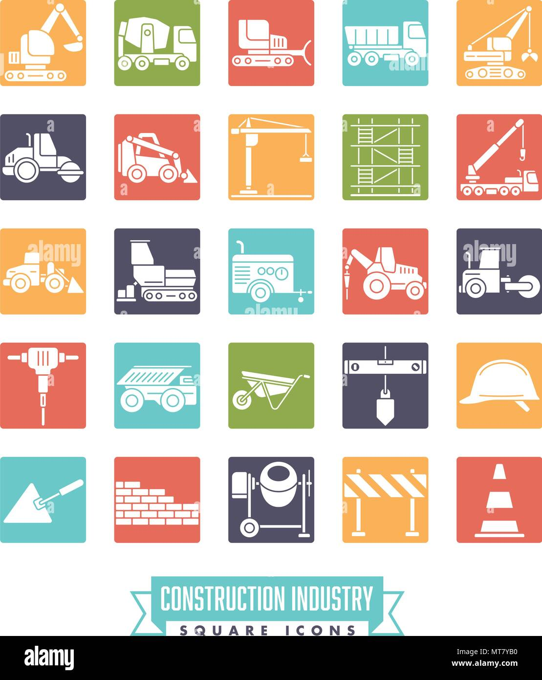 Industrial construction machinery and tools solid color square icon collection - Stock Vector