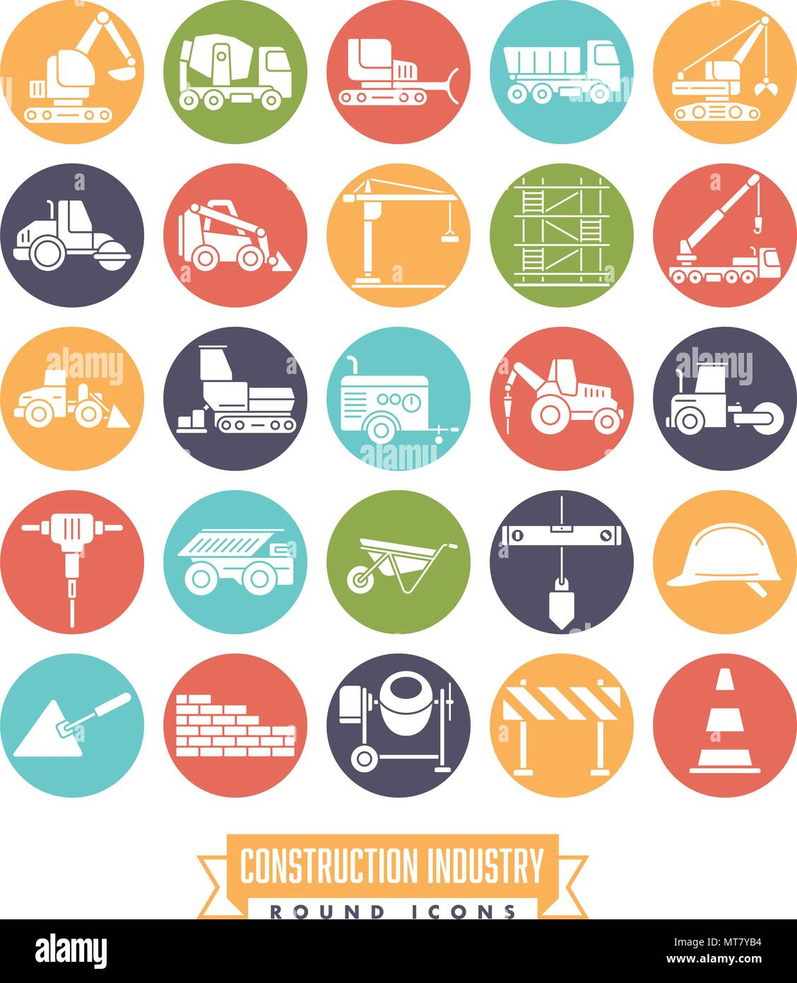 Industrial construction machinery and tools round solid color icon collection - Stock Vector
