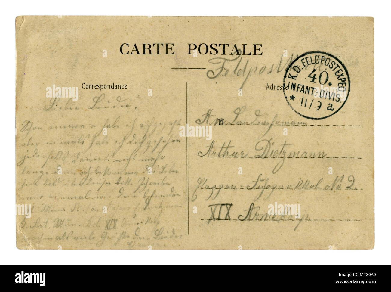 Back of historical French postcard (MT809E) with german  letter written in pencil, with  field mail postmark stamp,  world war one 1914-1918. Germany - Stock Image
