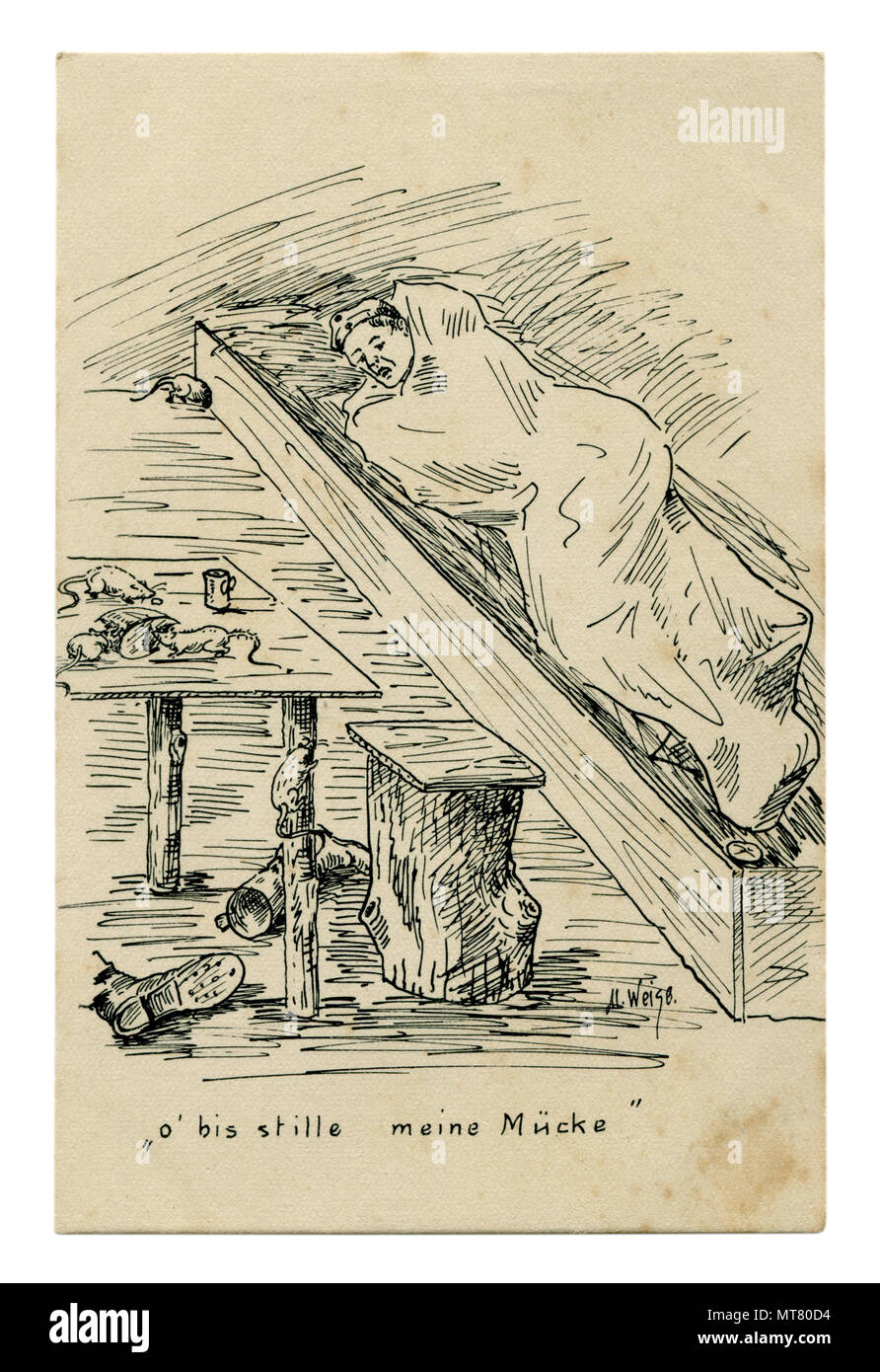German historical postcard: Black and white pencil sketch. Soldier resting in the dugout. Mice and rats eat leftover bread on the table. 1914-1918 Stock Photo