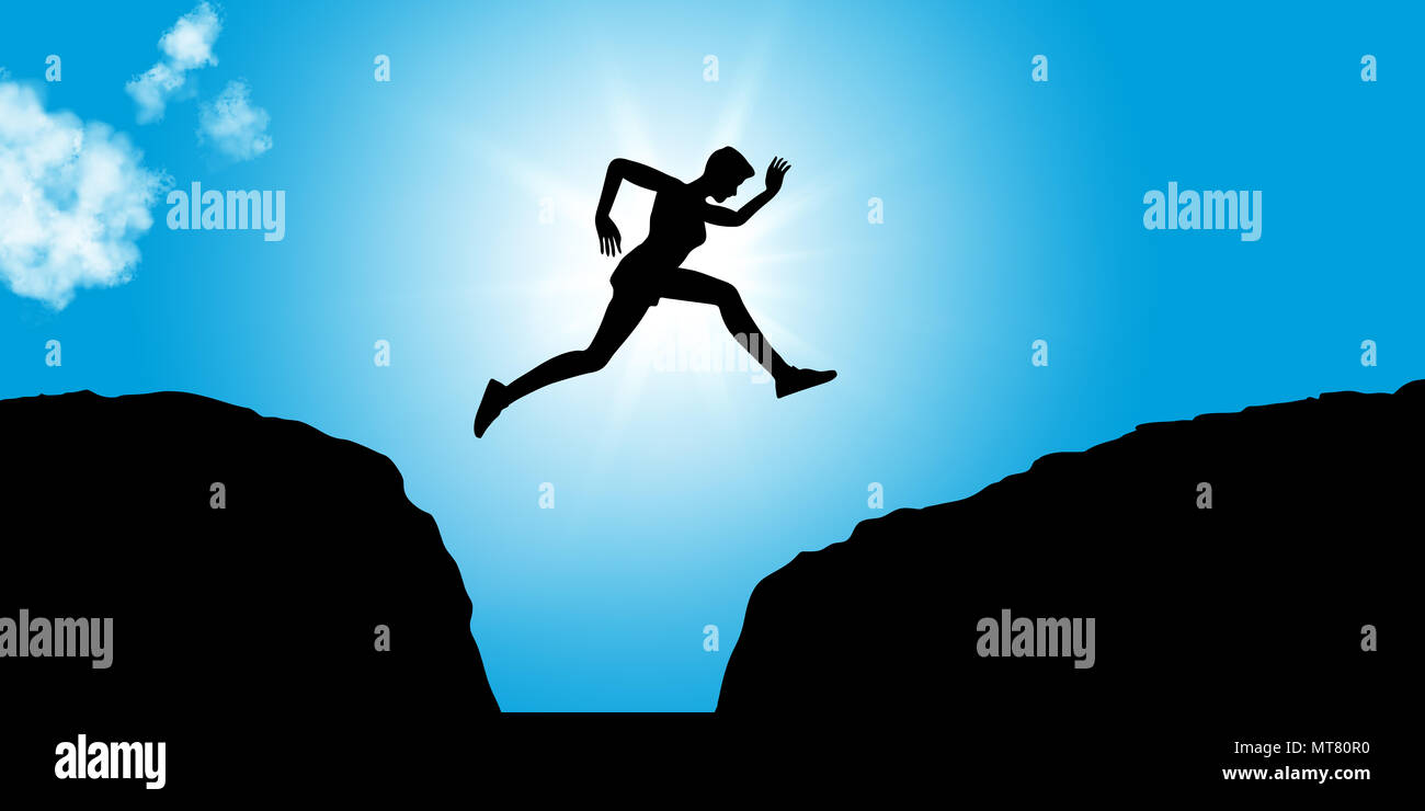 Fitness person jumps between rocks as concept image for courage and success - Stock Image