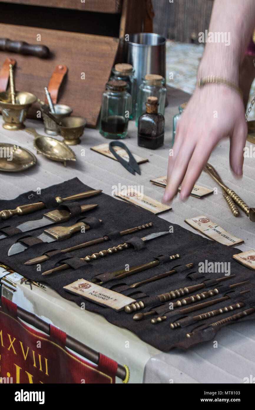 Old medical instuments from Roman times Stock Photo