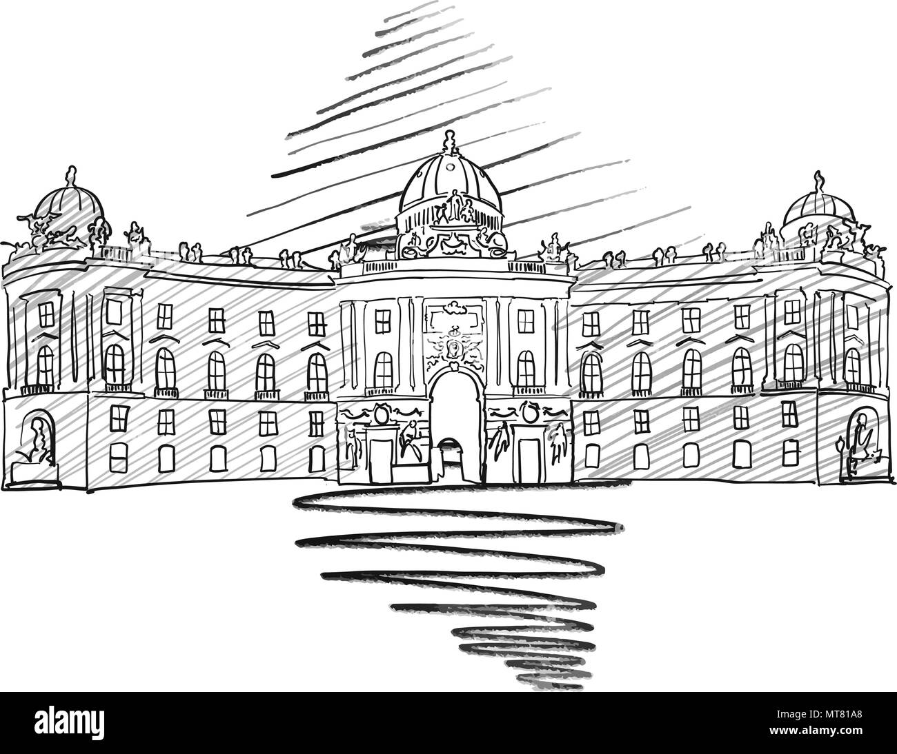 Vienna Hofburg Famous European Architecture Drawing Hand