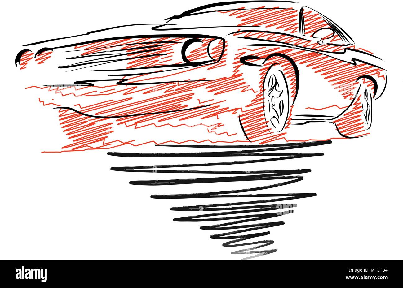 vintage muscle car drawing. hand drawn vector illustration stock