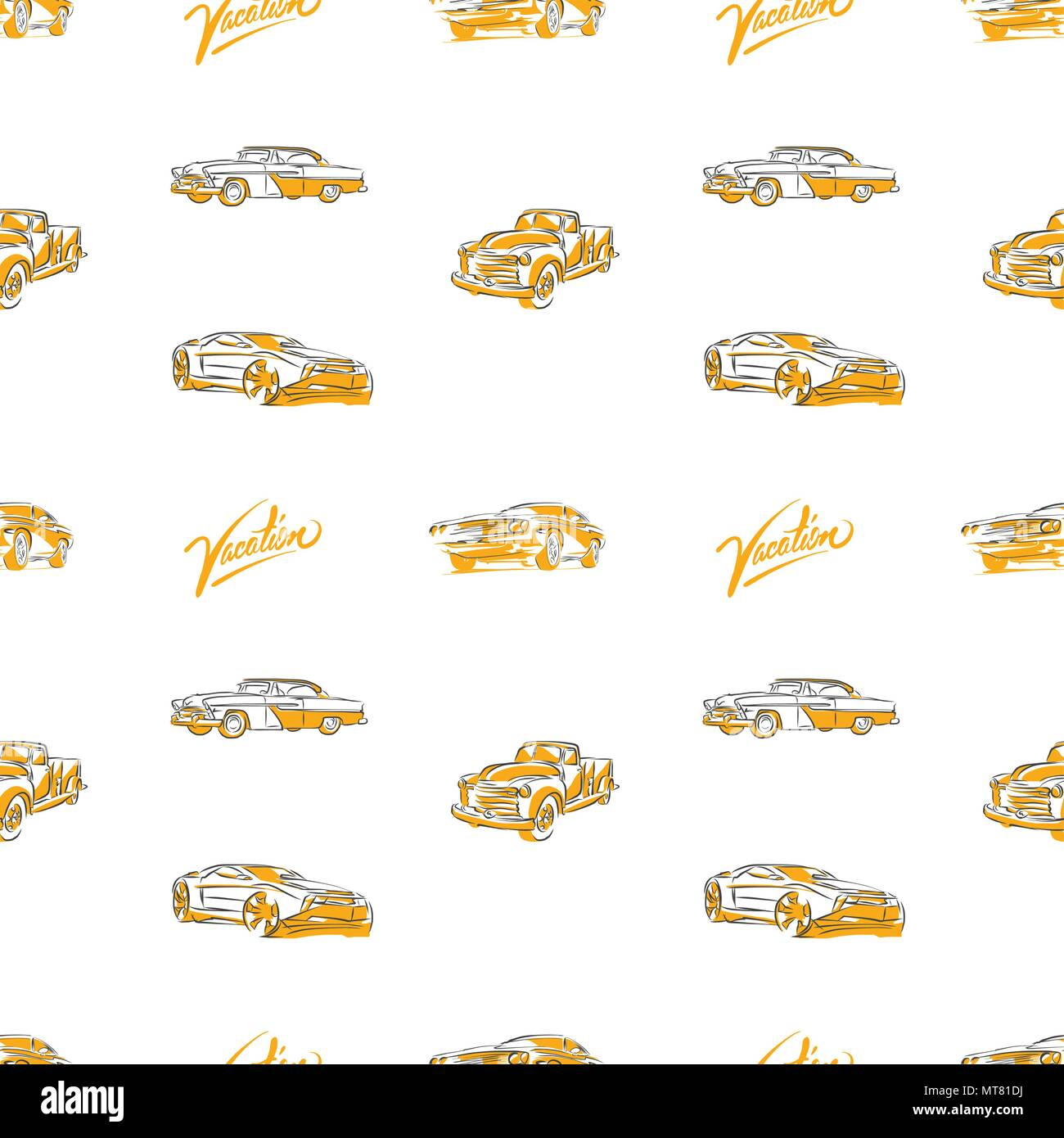 Old cars seamless pattern. Hand drawn vector illustration. - Stock Image