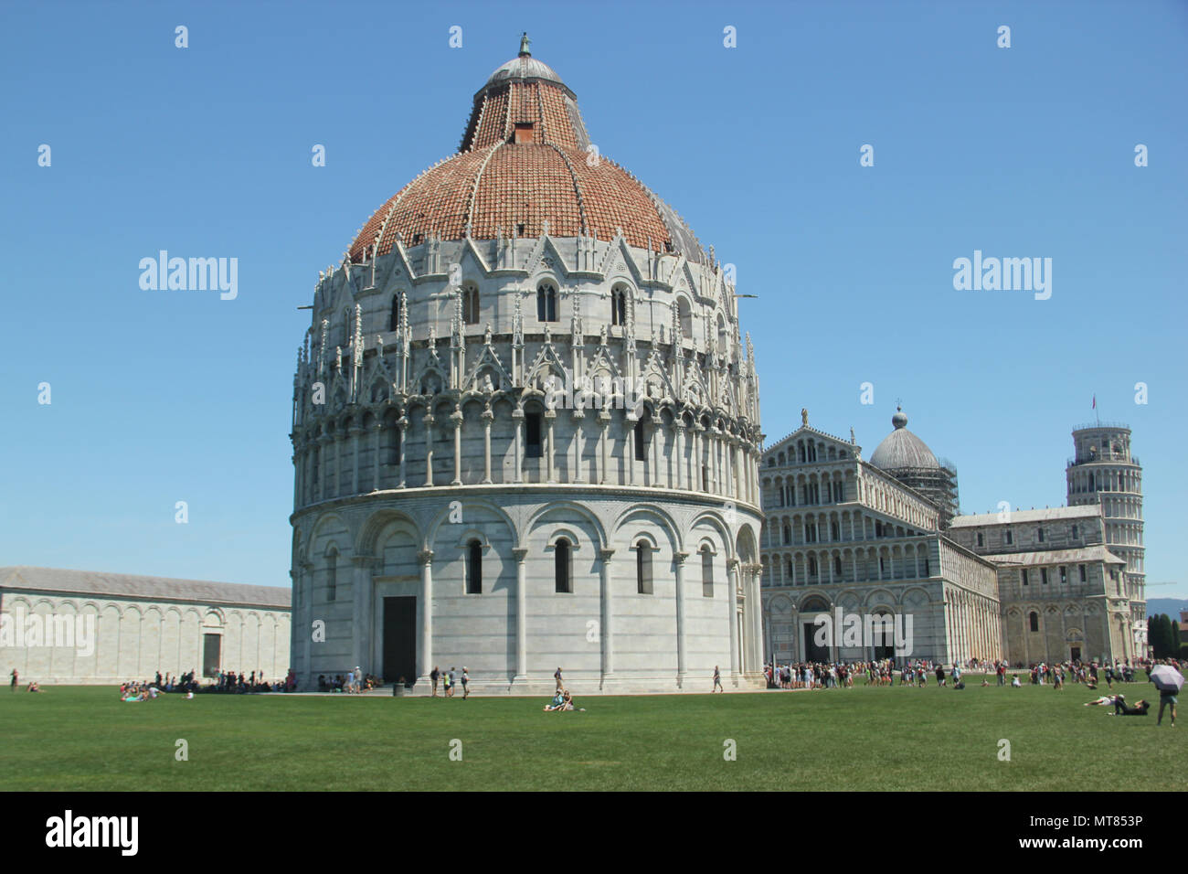 Pisa Baptistery in Square of Miracles in Pisa, Italy - Stock Image