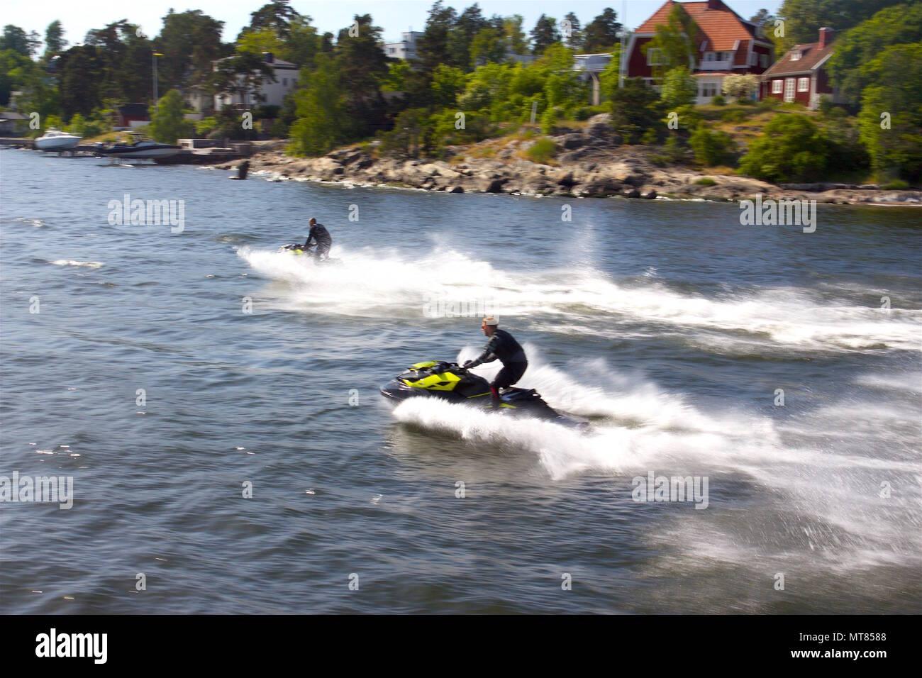 Jetskis in Stockholm Archipelago - Stock Image