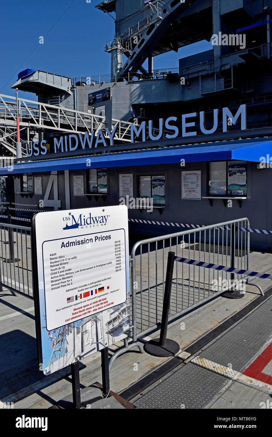 sign with admission prices to the USS Midway Museum, aircraft Carrier, San Diego, California - Stock Image