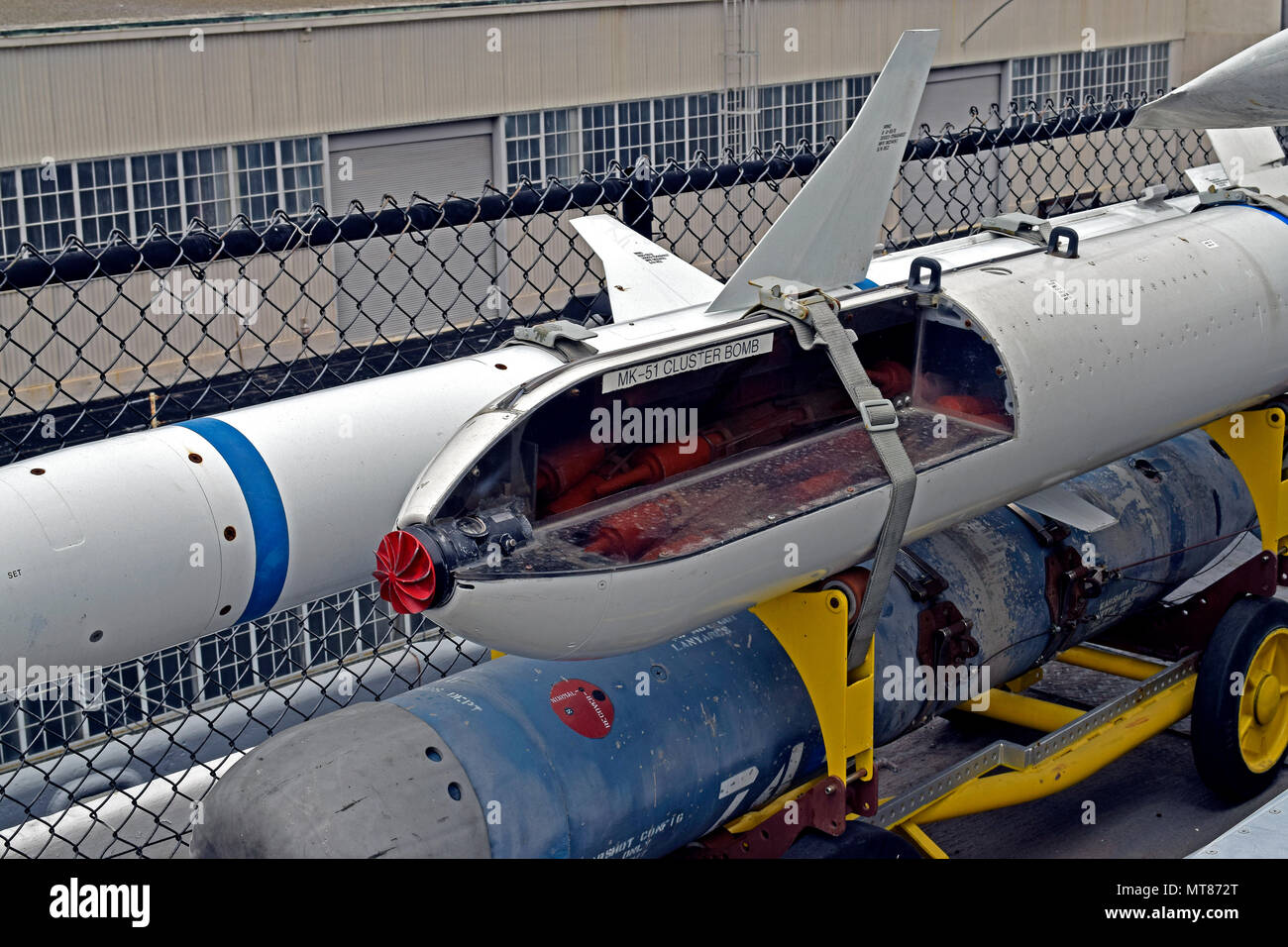 MK-51, cluster bomb display at the USS Midway Museum, aircraft Carrier, San Diego, California - Stock Image