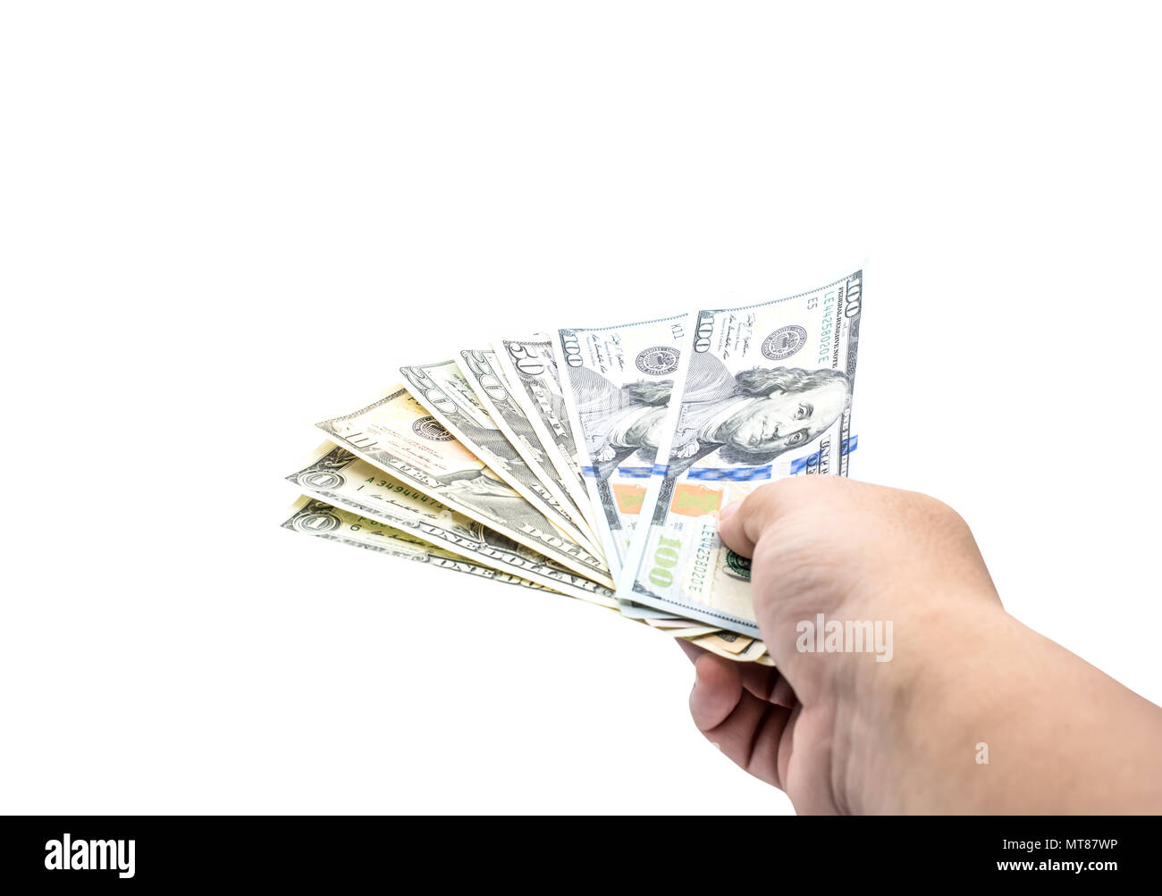 US Dollar currency, Banknotes of America, isolated with path - Stock Image