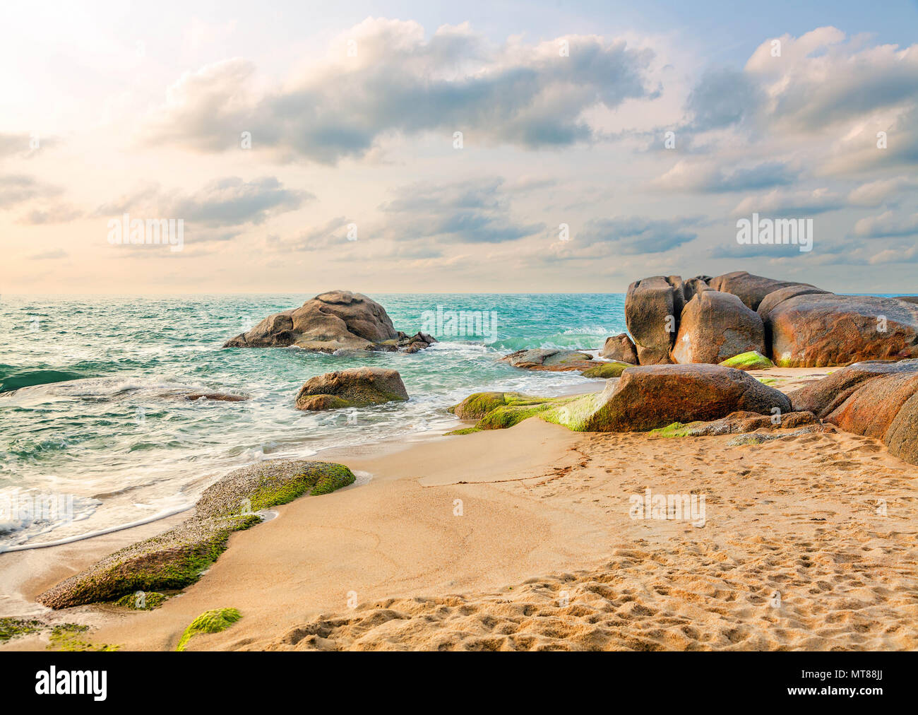 Sunrise on Lamai Beach on Koh Samui in Thailand. - Stock Image