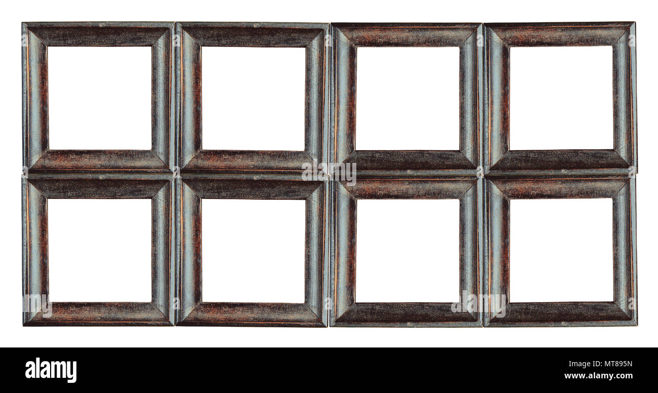 Close up group of old brown wooden picture frames isolated on white ...