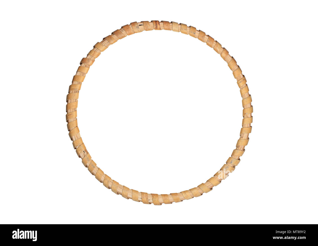 Nice round picture wooden frame isolated on white background with ...