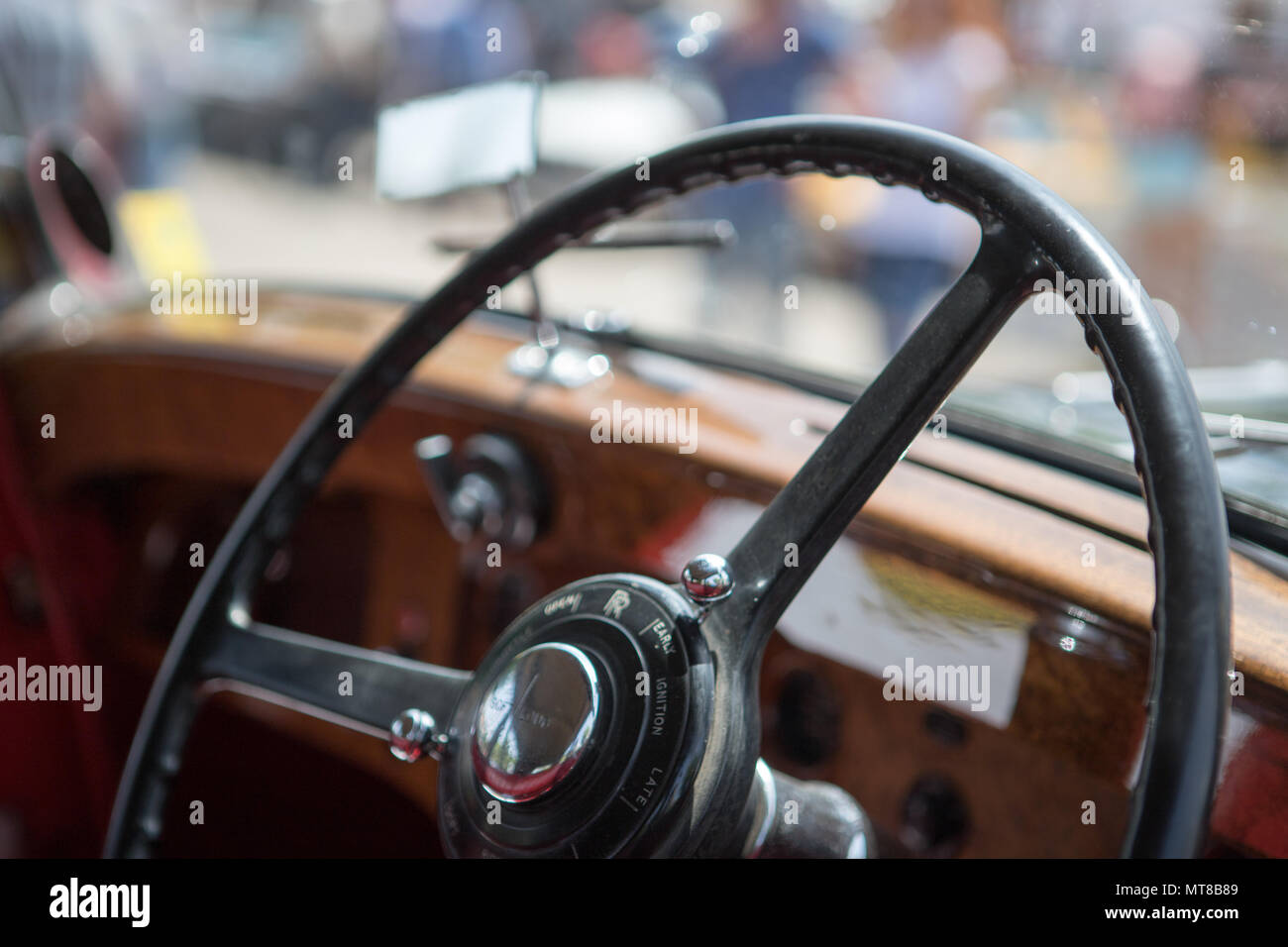 Steering wheel dashboard and Classic car interior, vintage style, american car style, fifties sixties seventies, - Stock Image