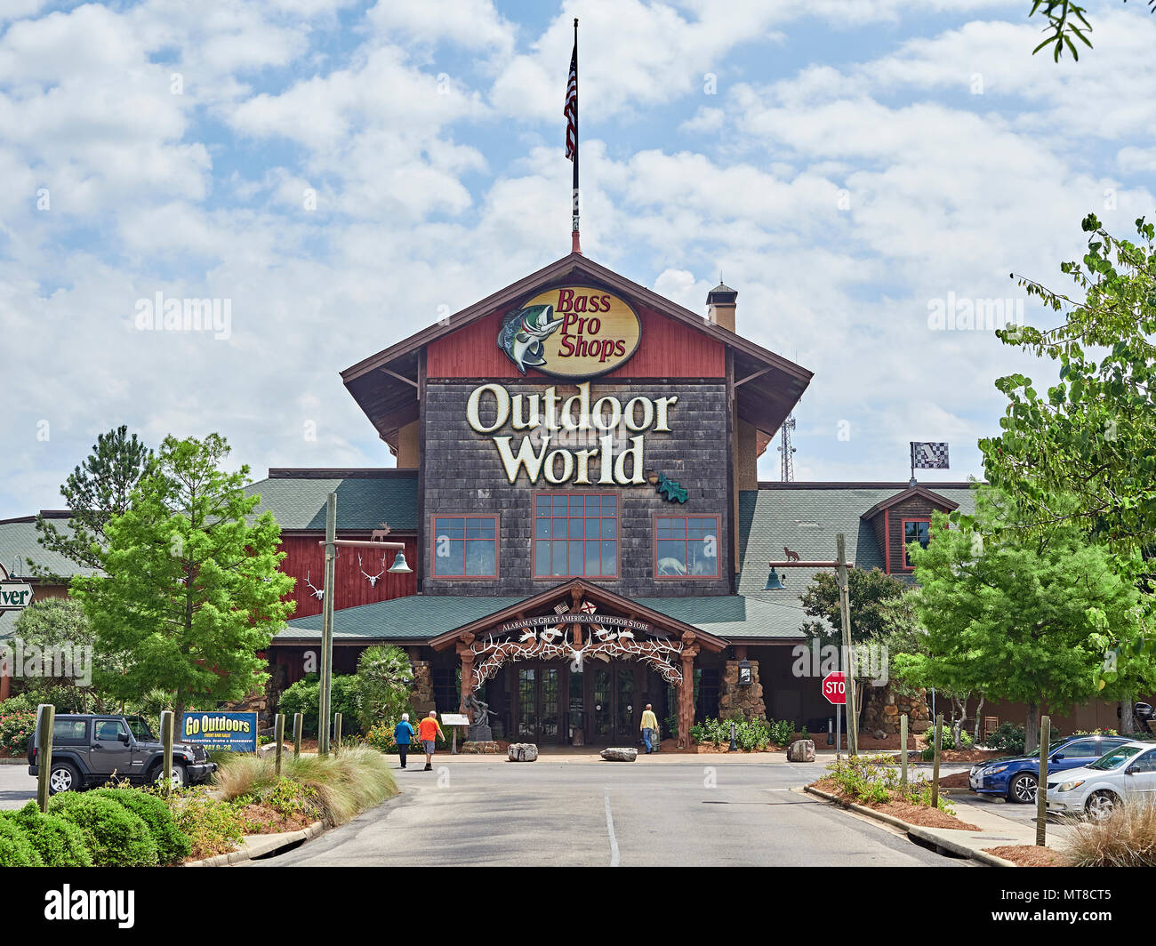 Bass Pro Shops Outdoor World front exterior entrance of the mega sized camping, hunting, fishing, and boating store or business in Prattville Alabama. - Stock Image