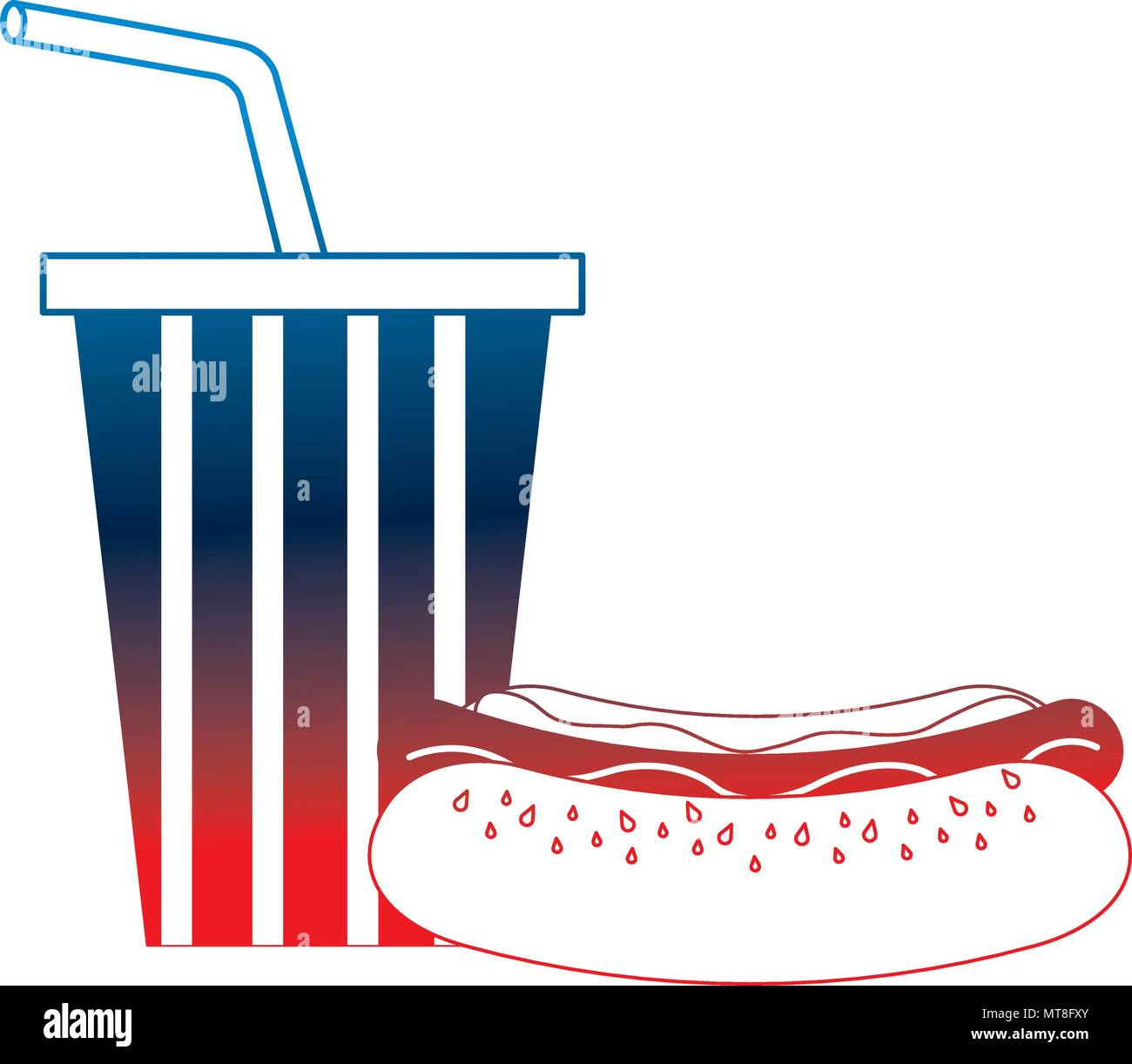 26cd40d02bff hot dog and cola cup with american flag color Stock Vector Art ...