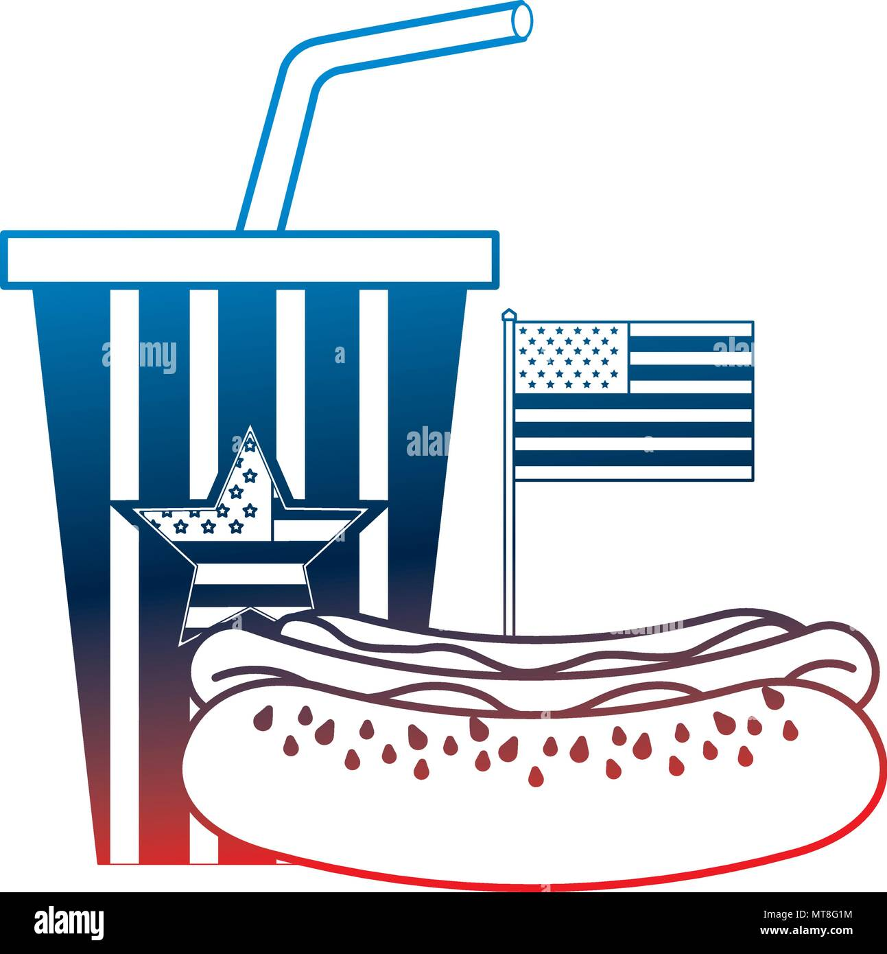 53363dae7119 hot dog and cola cup with american flag Stock Vector Art ...