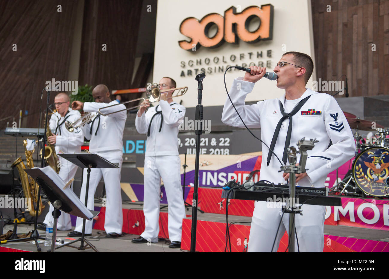 180514-N-OU129-249 SINGAPORE (May 14, 2018) U.S Navy 7th fleet Band Far East Edition performs at the Singapore School Of The Arts. The Far East Edition is made up of 8 professional Navy Musicians who perform a wide range music from the 1960s to todays most popular hits. (U.S. Navy photo by Mass Communication Specialist 2nd Class Joshua Fulton/RELEASED) Stock Photo