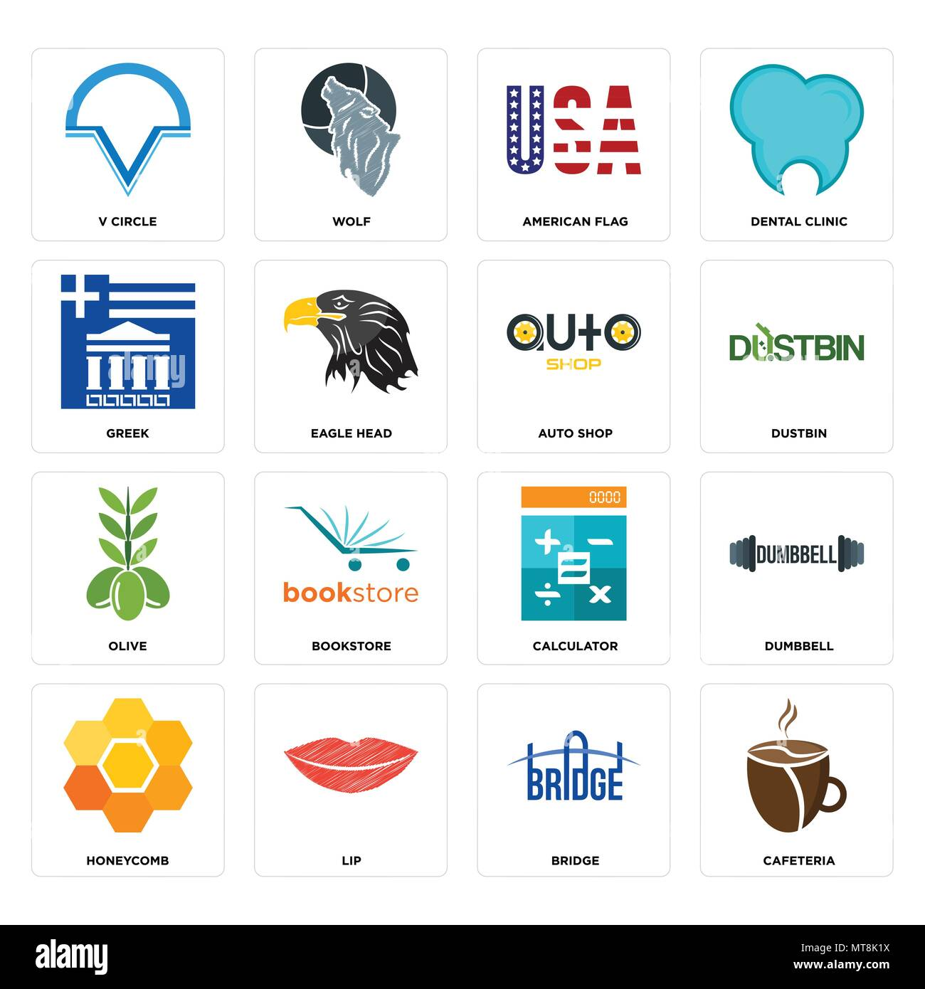 Set Of 16 simple editable icons such as cafeteria, bridge, lip, honeycomb, dumbbell, v circle, greek, olive, auto shop can be used for mobile, web UI - Stock Image