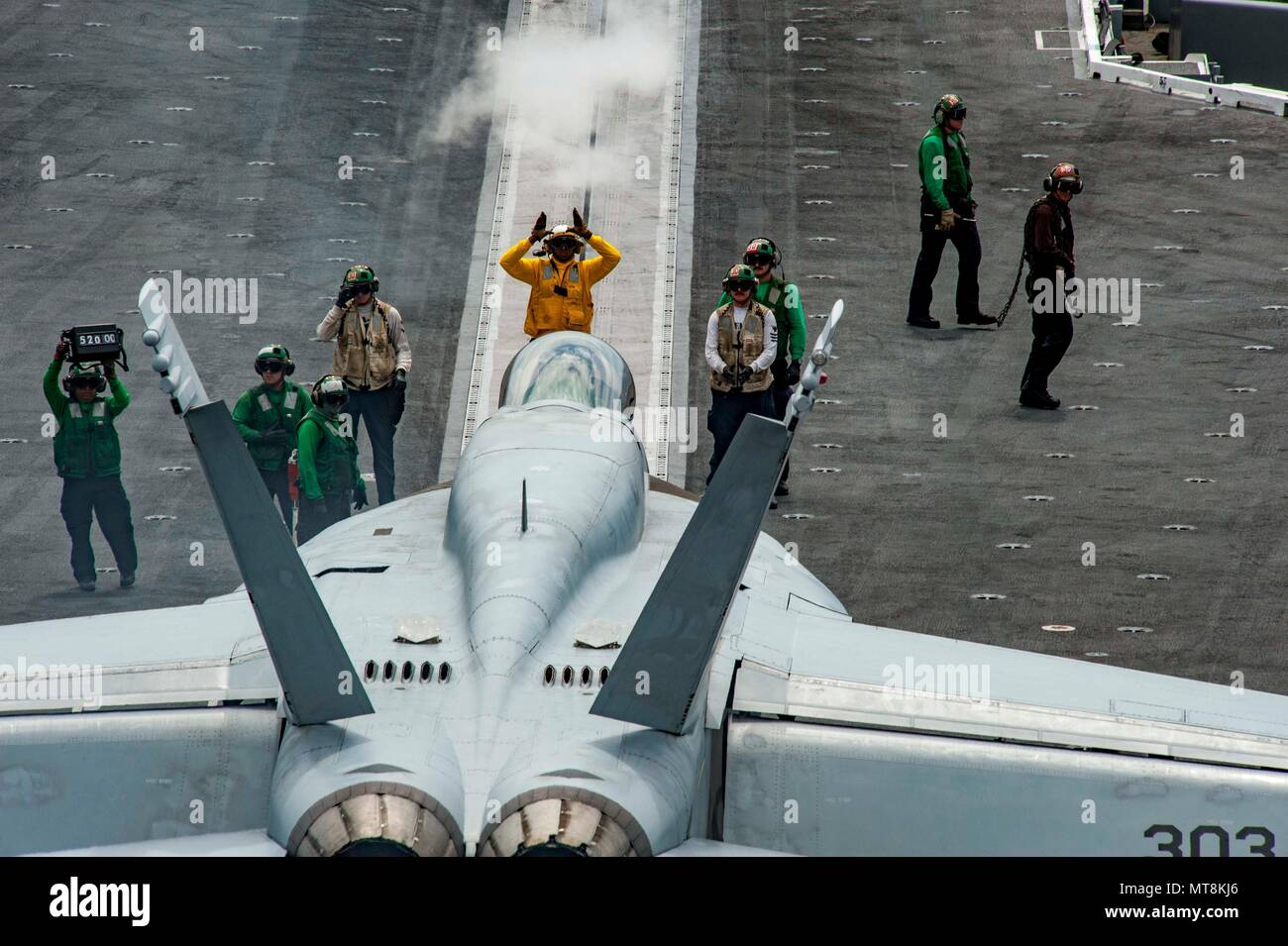 2018 An F A 18e Super Hor Attached To Strike Fighter Squadron Vfa 87 Prepares Launch Off The Aircraft Carrier Uss Gee H W Bush Cvn 77