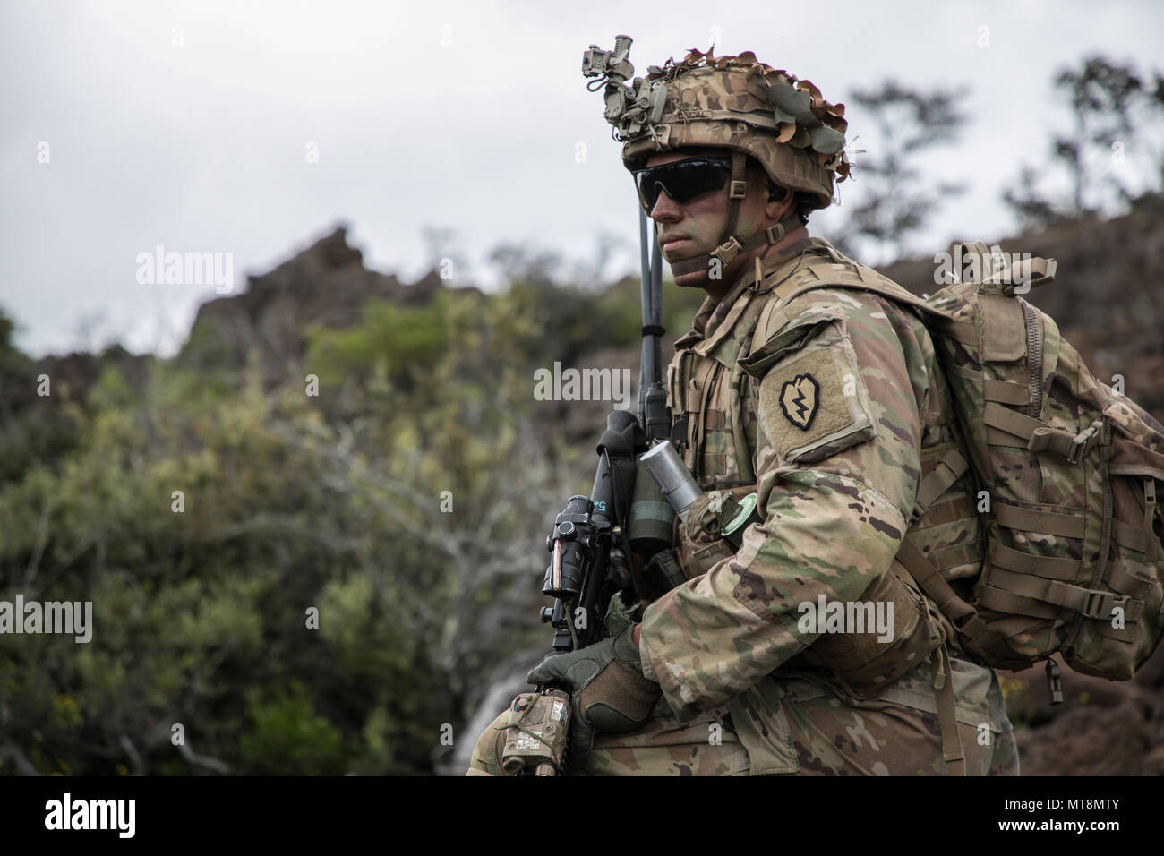 U.S. Army Trooper assigned to 2nd Squadron, 14th Calvary Regiment, 2nd Infantry Brigade Combat Team, 25th Infantry Division scans the battlefield during a Combined Arms Live Fire Exercise (CALFEX) at Pohakuloa Training Area, Hawaii, May 15, 2018. The CALFEX utilizes all the enablers available to the unit in order to increase interoperability, concentrate combat power and mass effects on the objective. (U.S. Army photo by 1st Lt. Ryan DeBooy) - Stock Image
