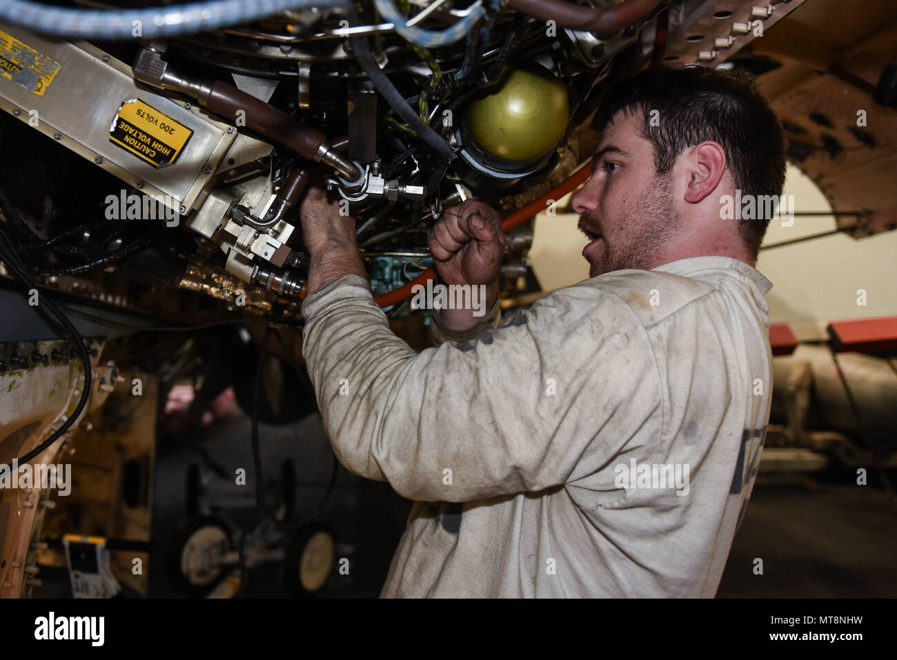180515 N Dz642 0016 Mediterranean Sea May 15 2018 Aviation Aircraft Wiring Harness Machinists Mate 2nd Class Kyle Radley Assigned To The Red Rippers Of Strike Fighter Squadron Vfa 11 Installs A Wire On An